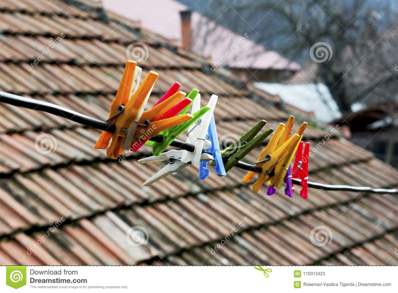 Clothespins On A Wire Stock Image Image Of Hanging 110313423