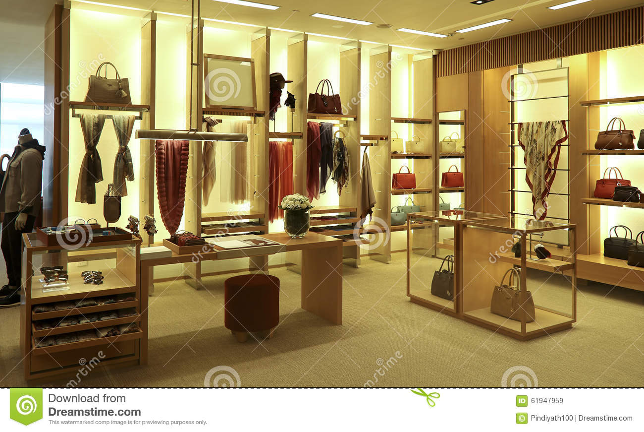 Clothing and accessories boutique interior stock image for Boutique luxury