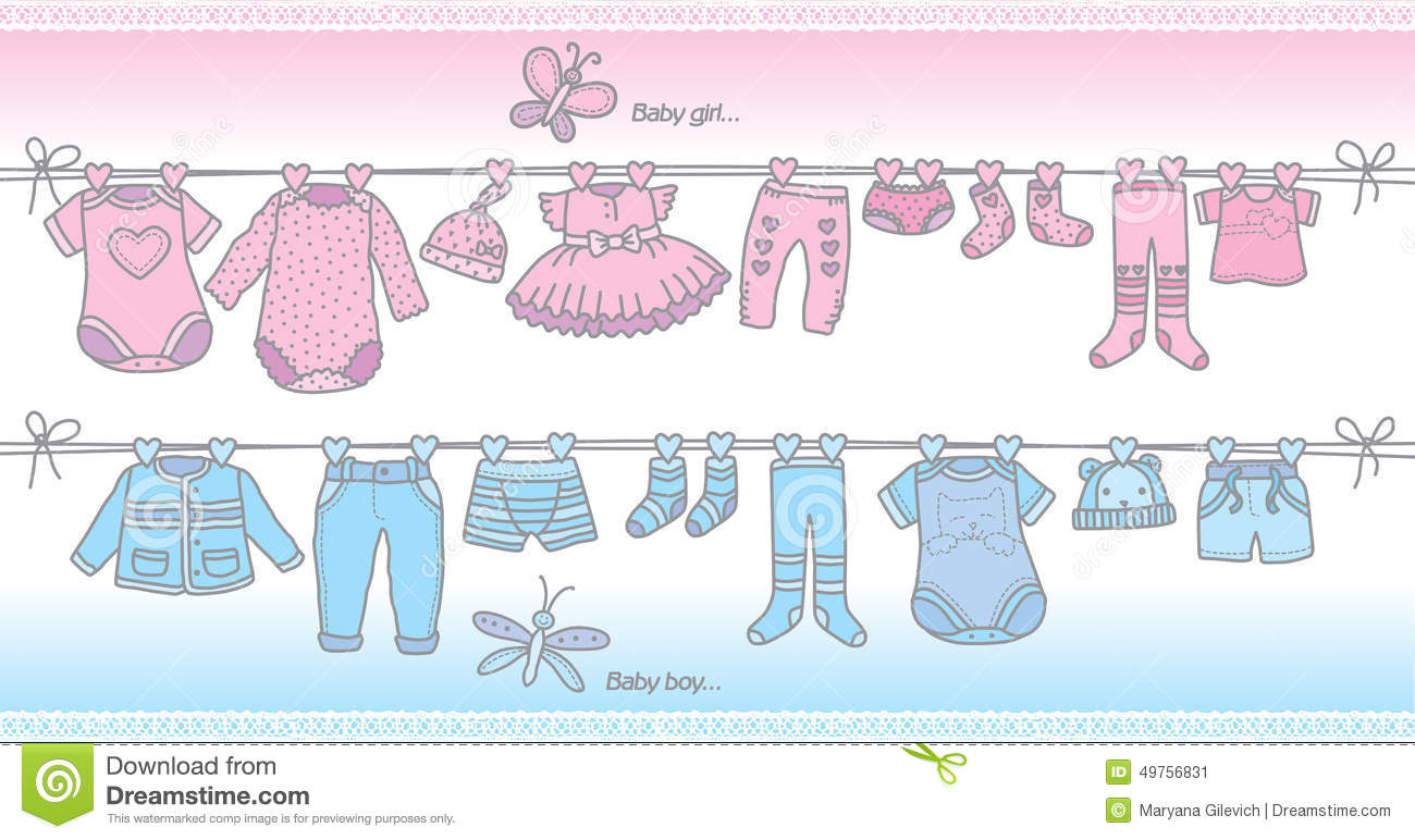 Clothing Baby Boy And Baby Girl Stock Vector