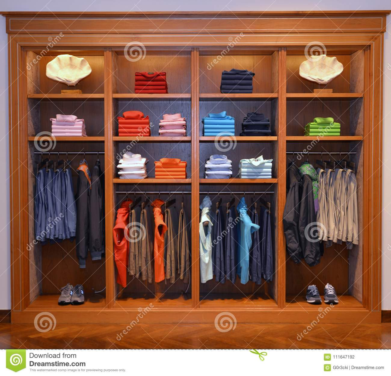 clothing business wooden cabinet with clothes stored colorful