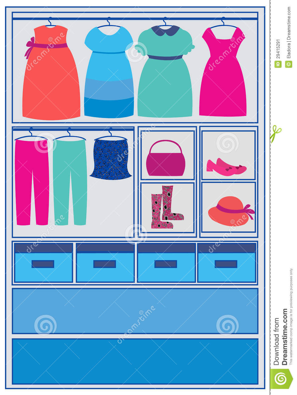 tidy closet wardrobe, dresses, shoes and boxes vector.