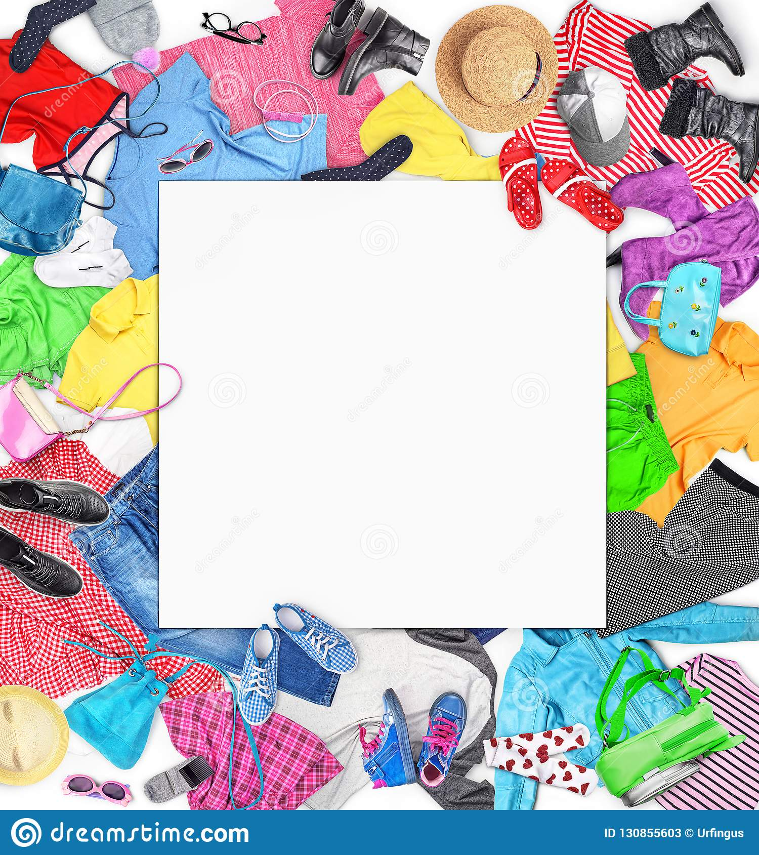 Clothing Composition With Clothes For Men Women And Children Stock Image Image Of Flat Object 130855603