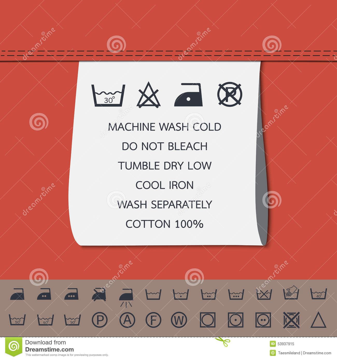 Clothing Label And Washing Symbol Stock Vector Illustration Of