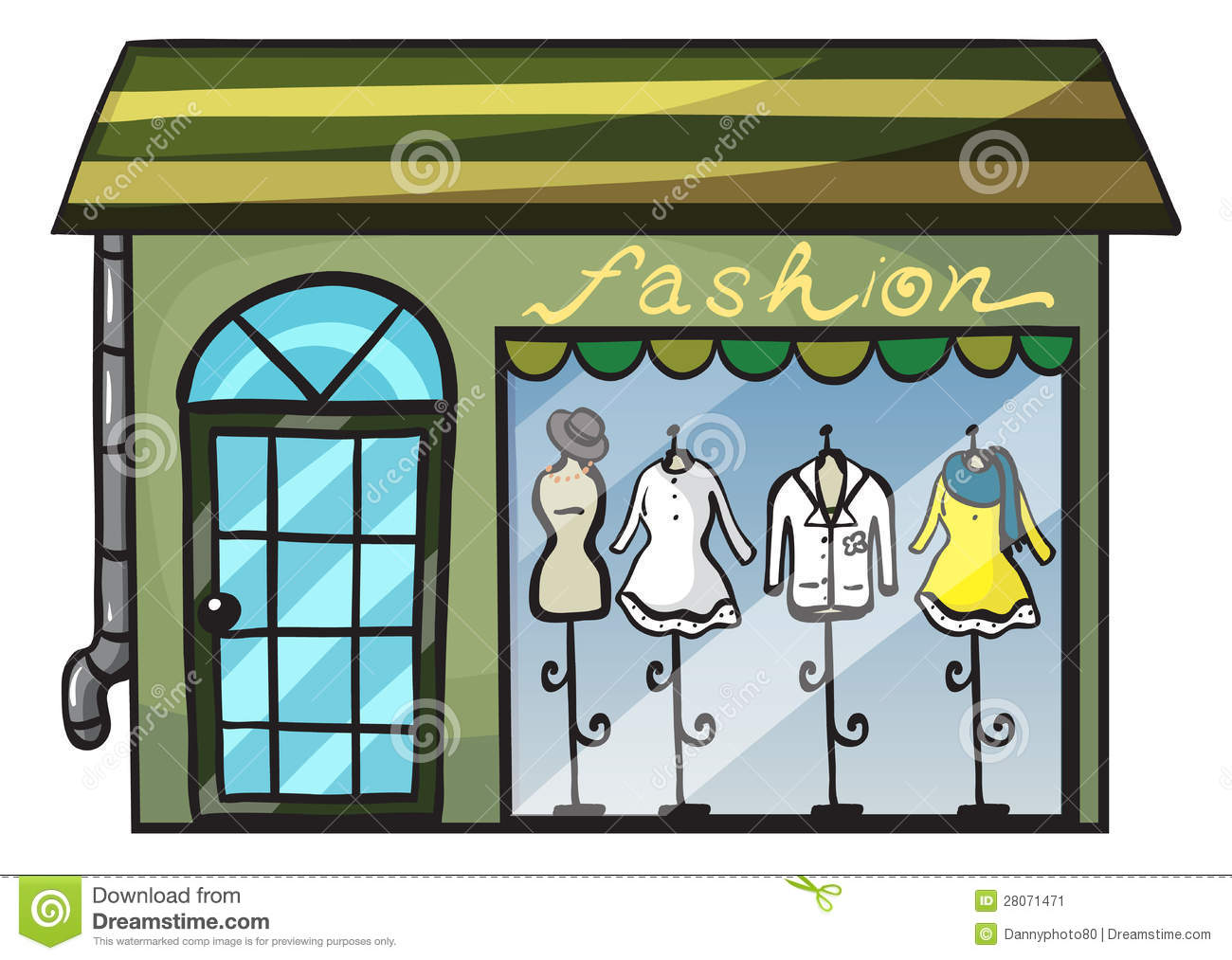 Illustration of a clothing store on a white background.