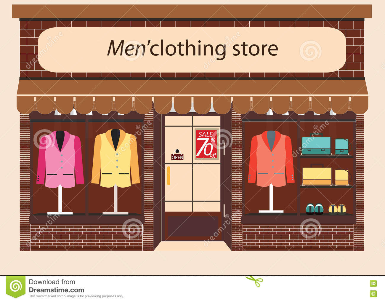 Clothing store Boutique. stock vector. Illustration of ...