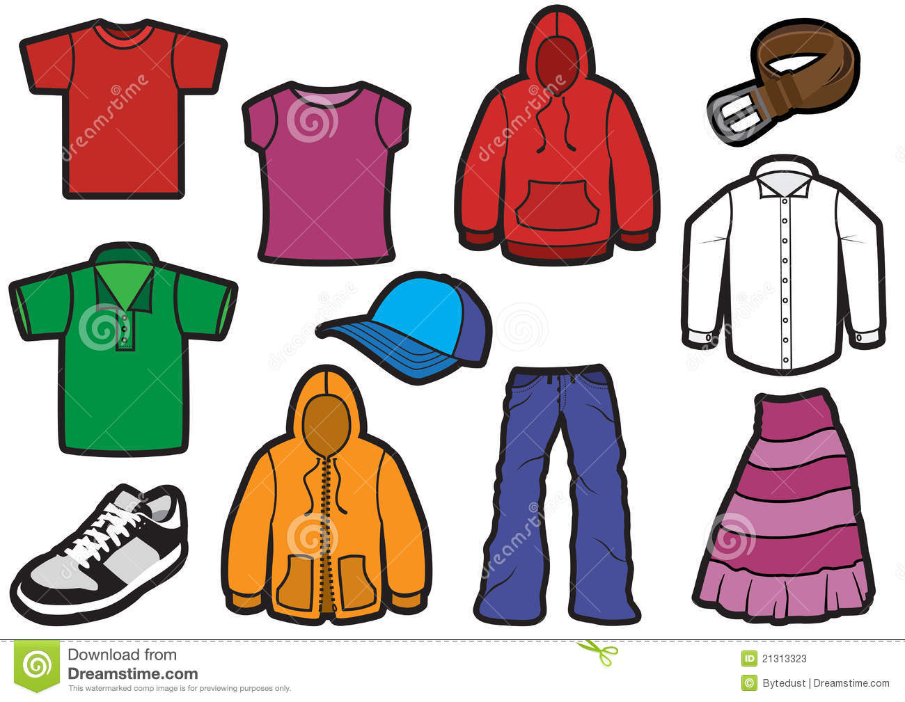 Clothing Symbol Set With Bold Outlines Stock Illustration ...