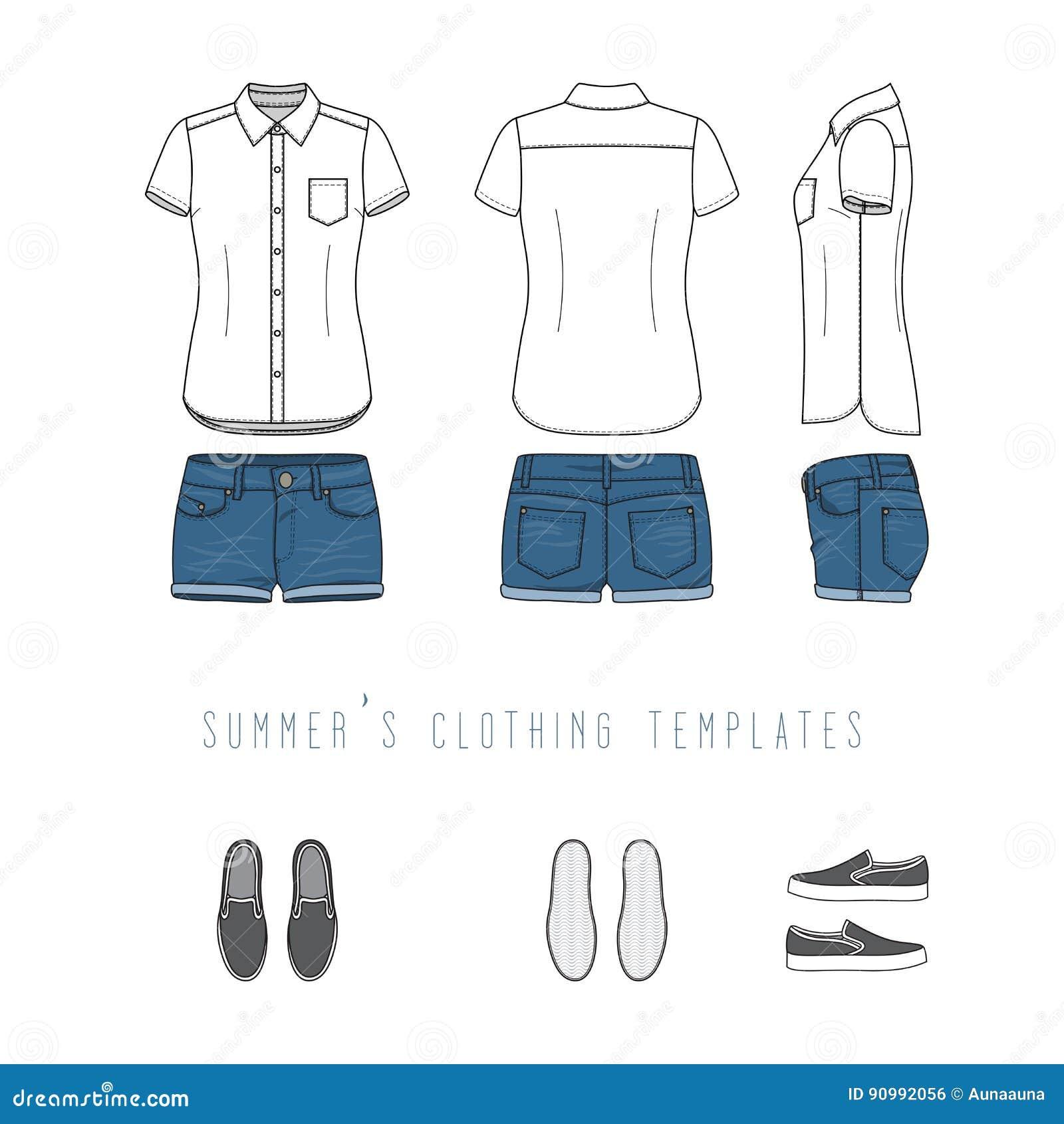 Clothing Templates Set Stock Vector Illustration Of Collar 90992056