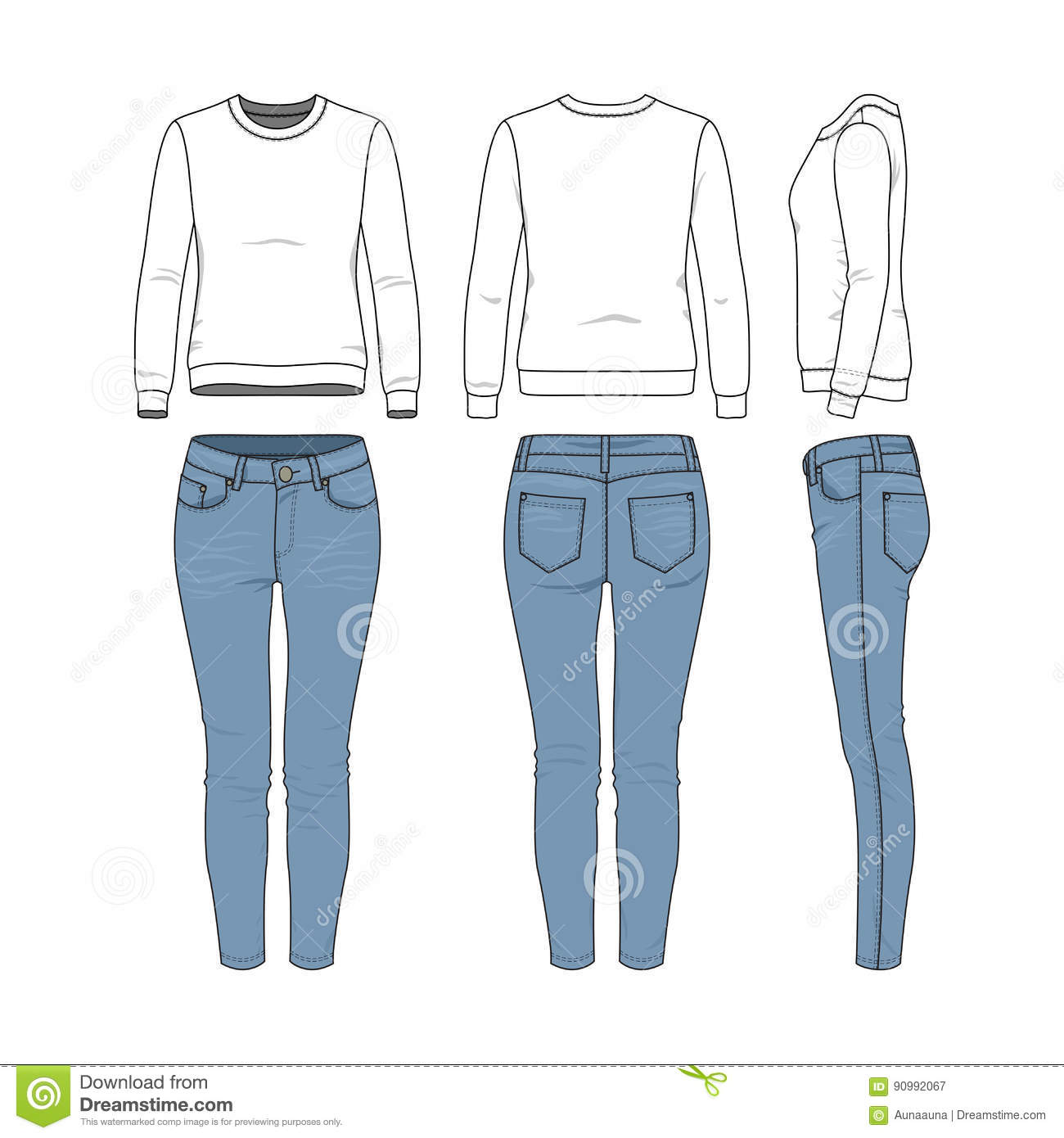 Clothing Templates Set Stock Vector Illustration Of Contour