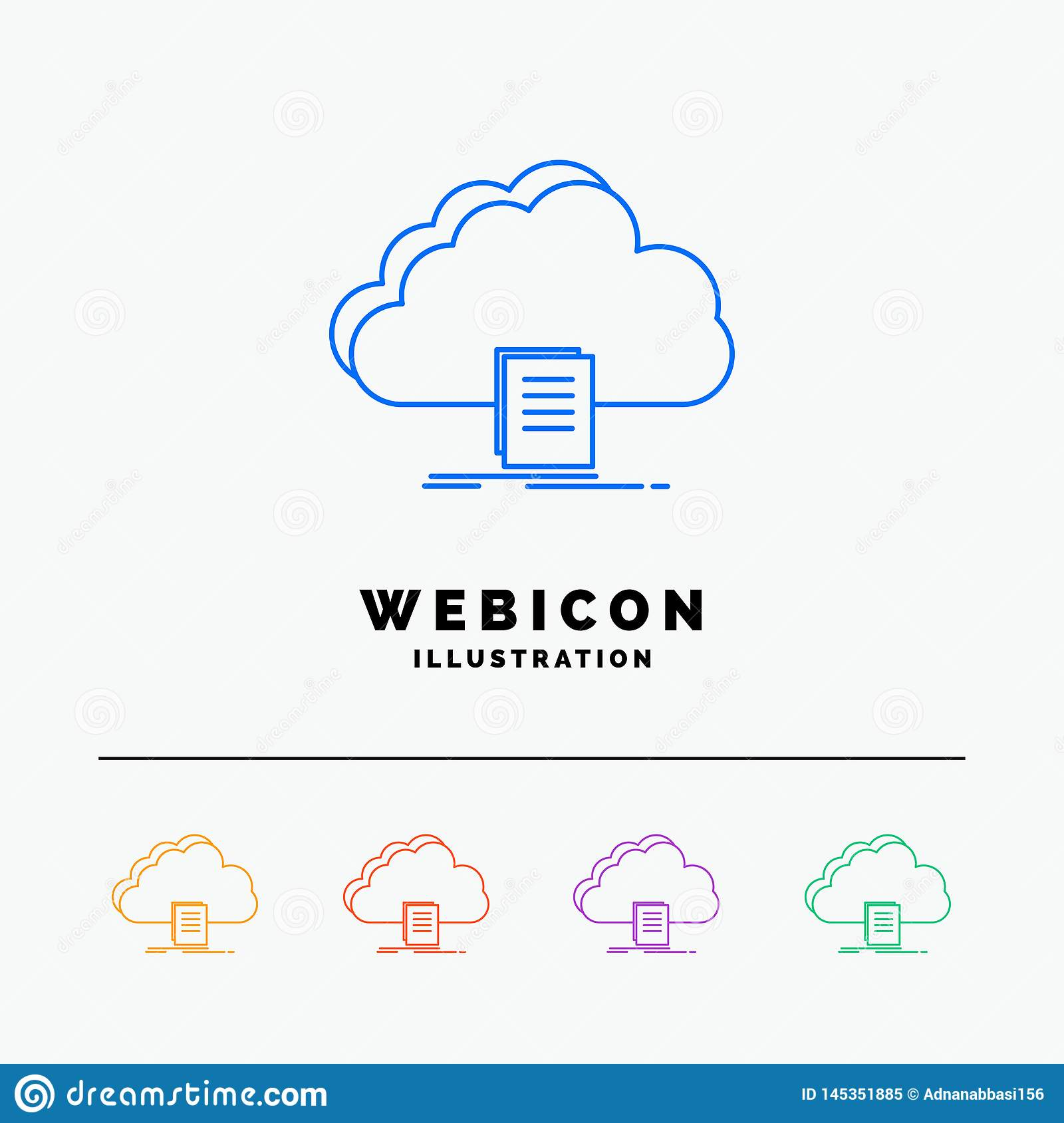 cloud, access, document, file, download 5 Color Line Web Icon Template isolated on white. Vector illustration