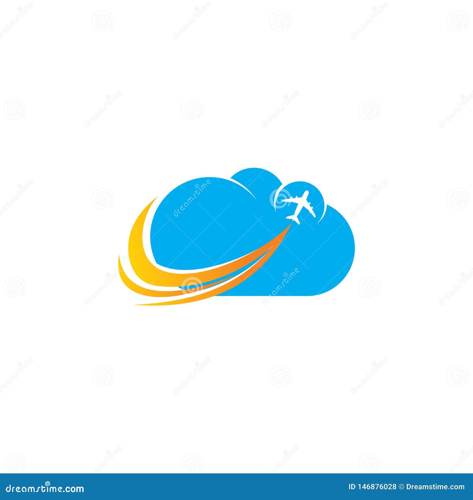 Cloud airplane aviation logo Design