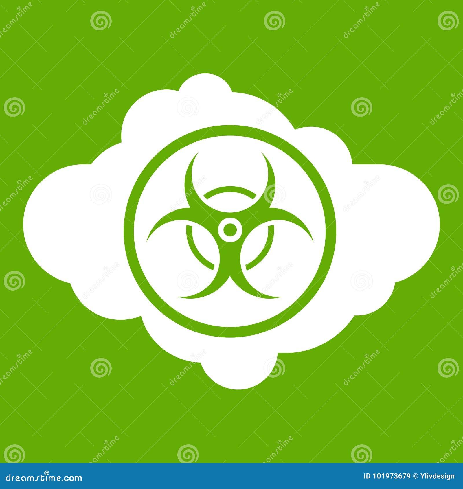 Cloud With Biohazard Symbol Icon Green Stock Vector Illustration
