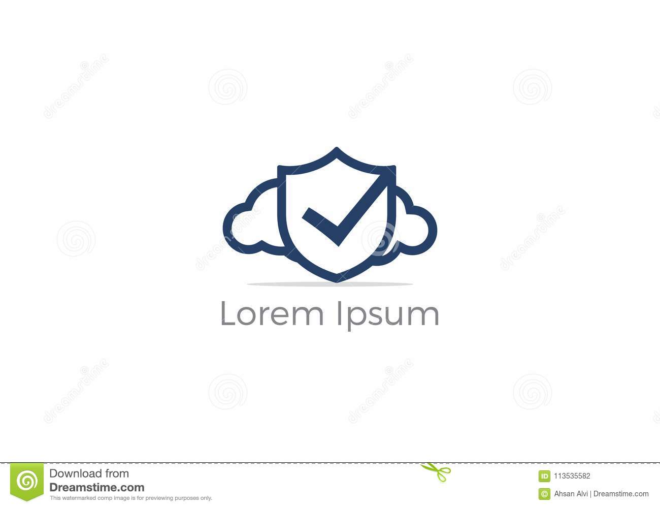 Cloud Check Mark Logo Design Tick Mark On Shield And Cloud Icon