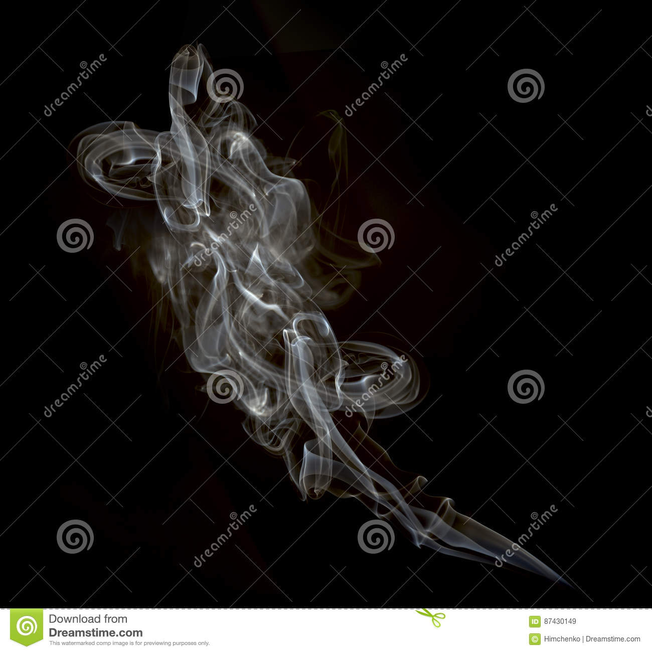 A cloud of cigarette smoke on a black background