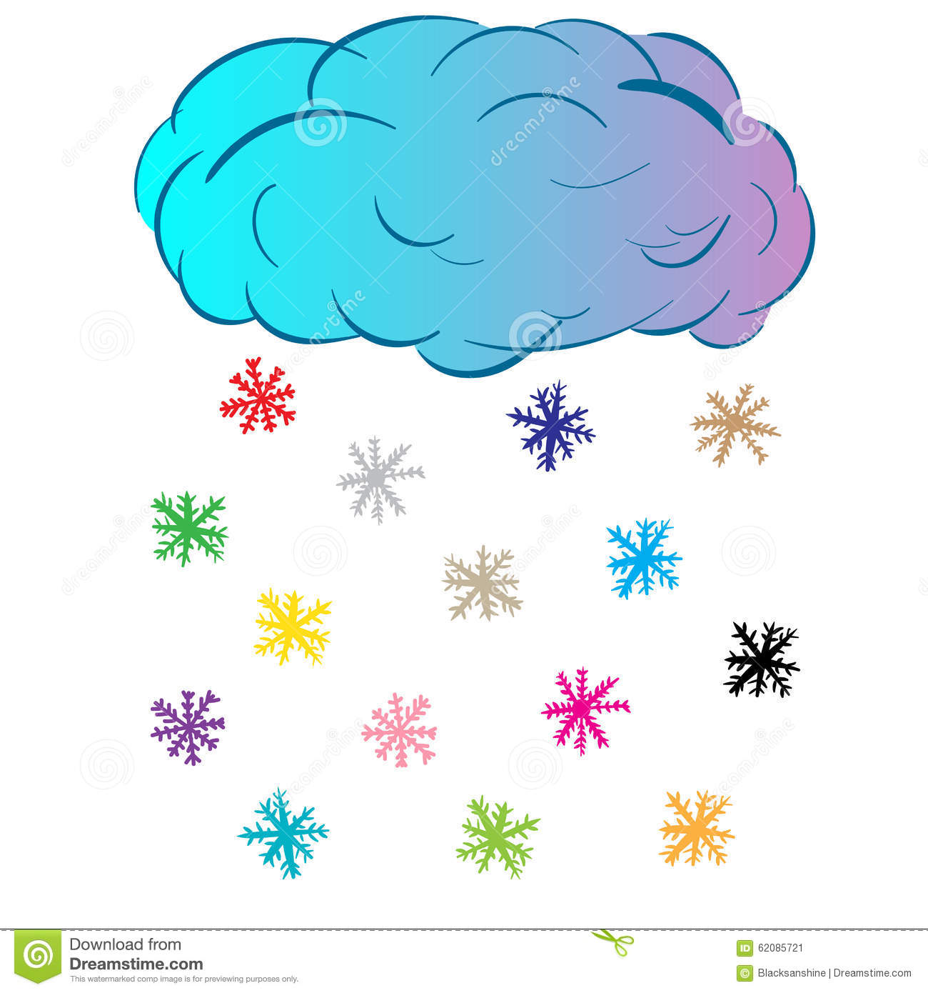 cloud with color snowflakes stock vector image 62085721. Black Bedroom Furniture Sets. Home Design Ideas