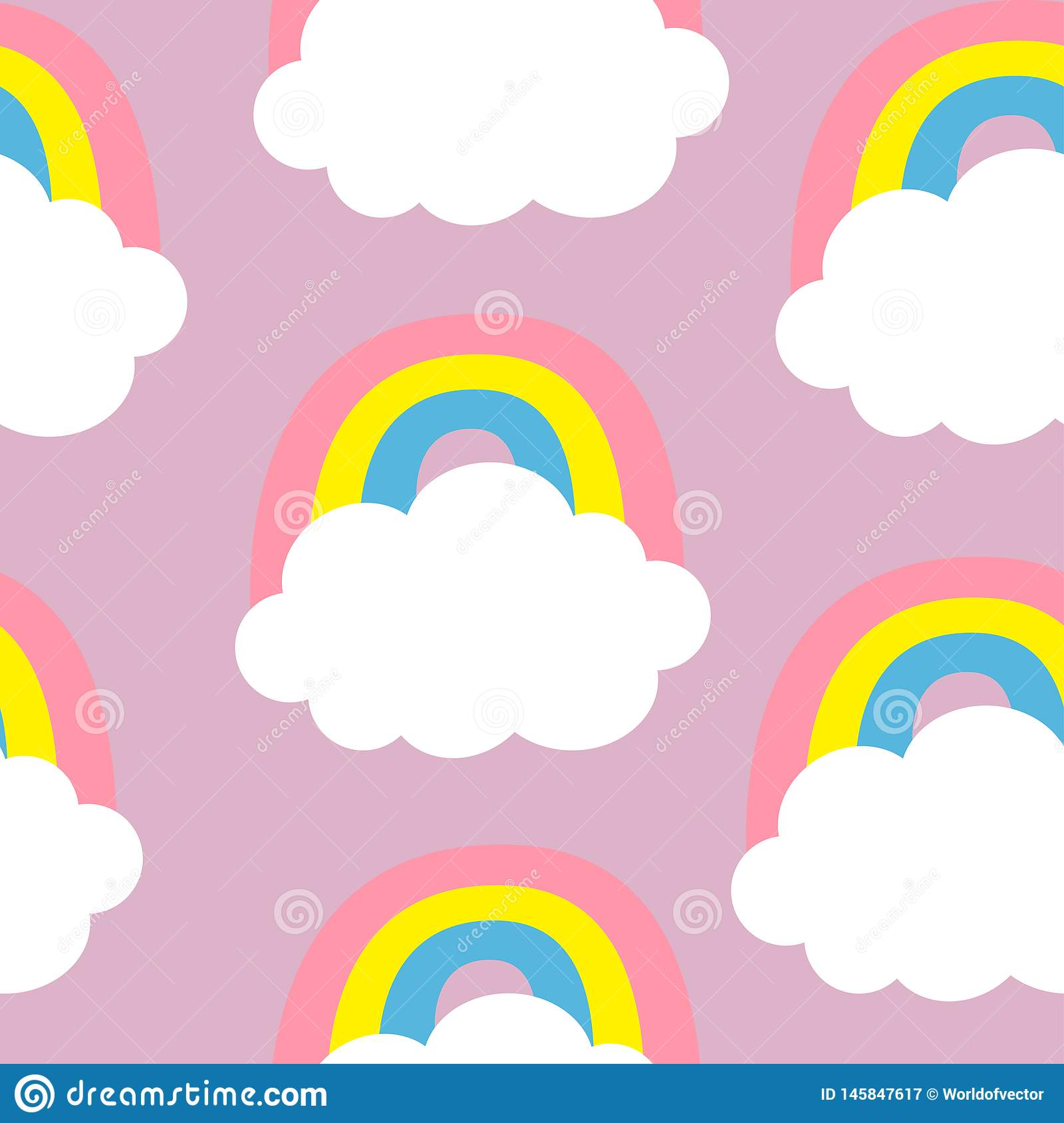 Cloud Colorful Rainbow. Seamless Pattern. Cute cartoon kawaii funny baby kids decor. Wrapping paper, textile template. Nursery
