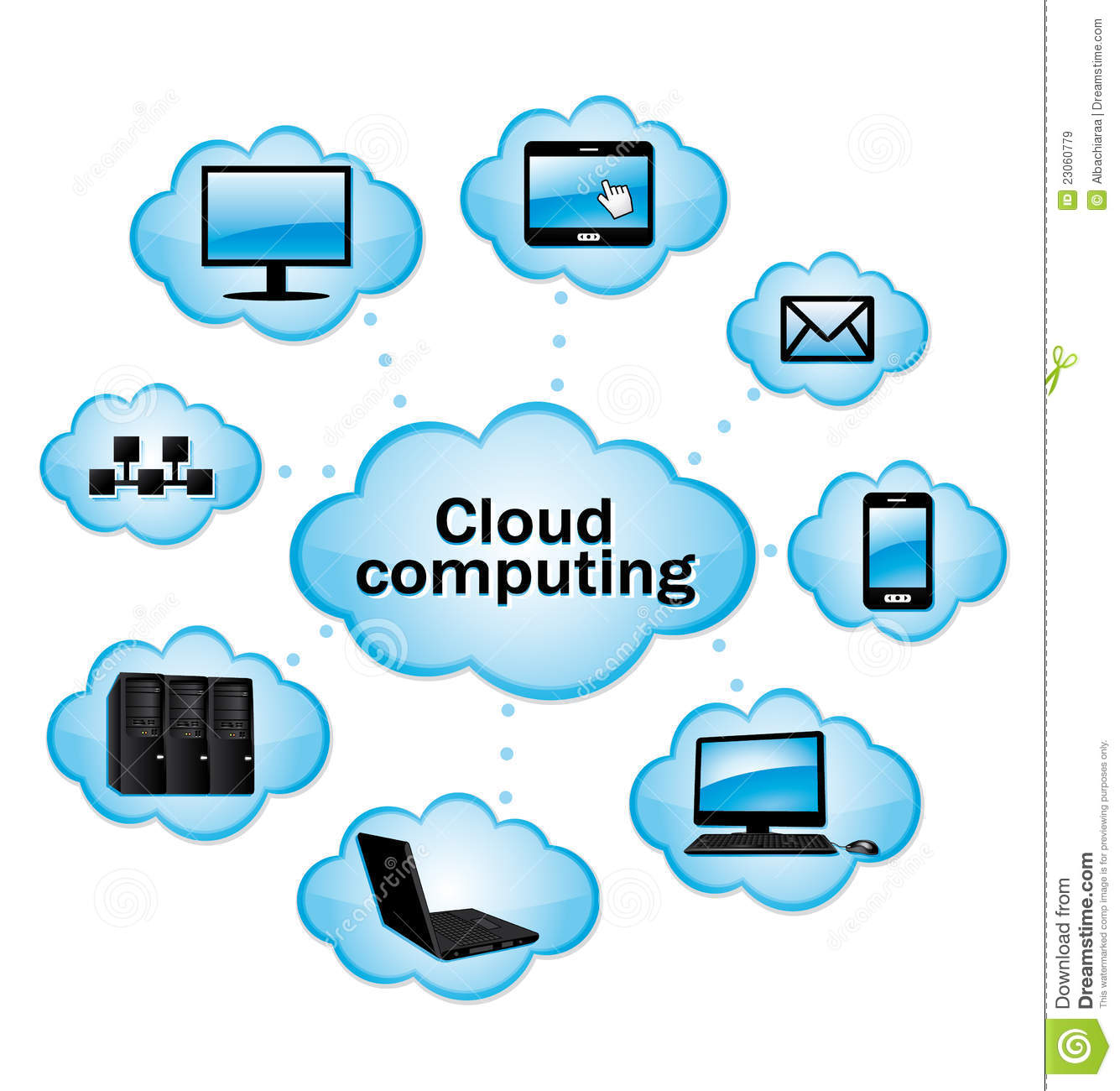 Networking Cloud Computing: Cloud Computing. Royalty Free Stock Images