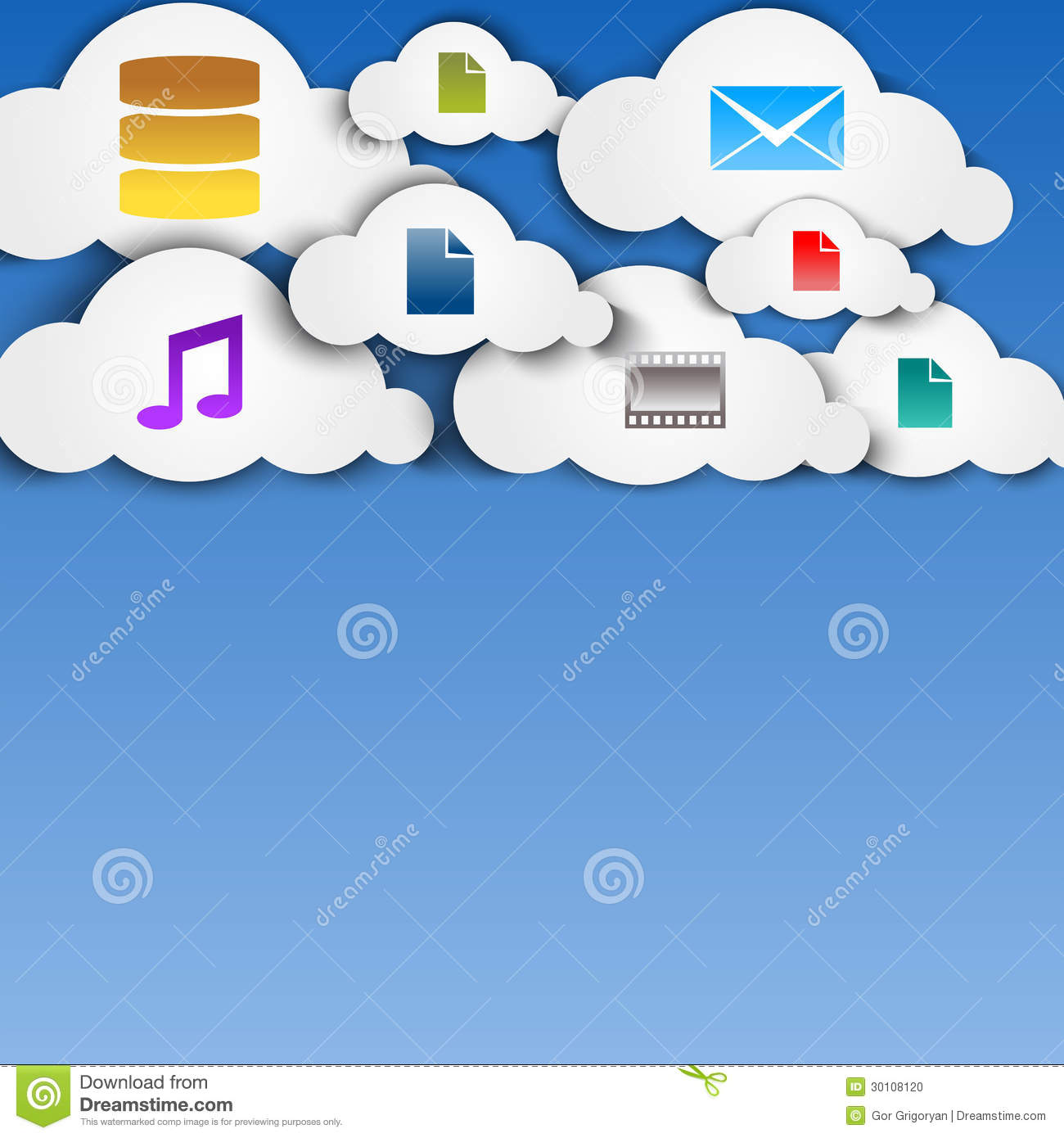 Cloud Computing Paper Cutout Stickers City and Suburb Network Wifi ...