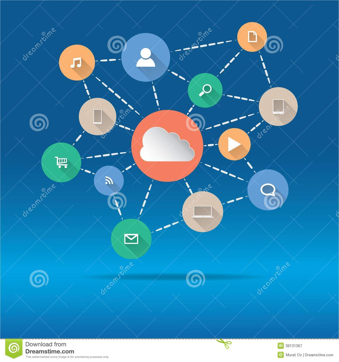 Cloud Computing And Applications Concept. Stock Image ... Laptop Vector Illustration