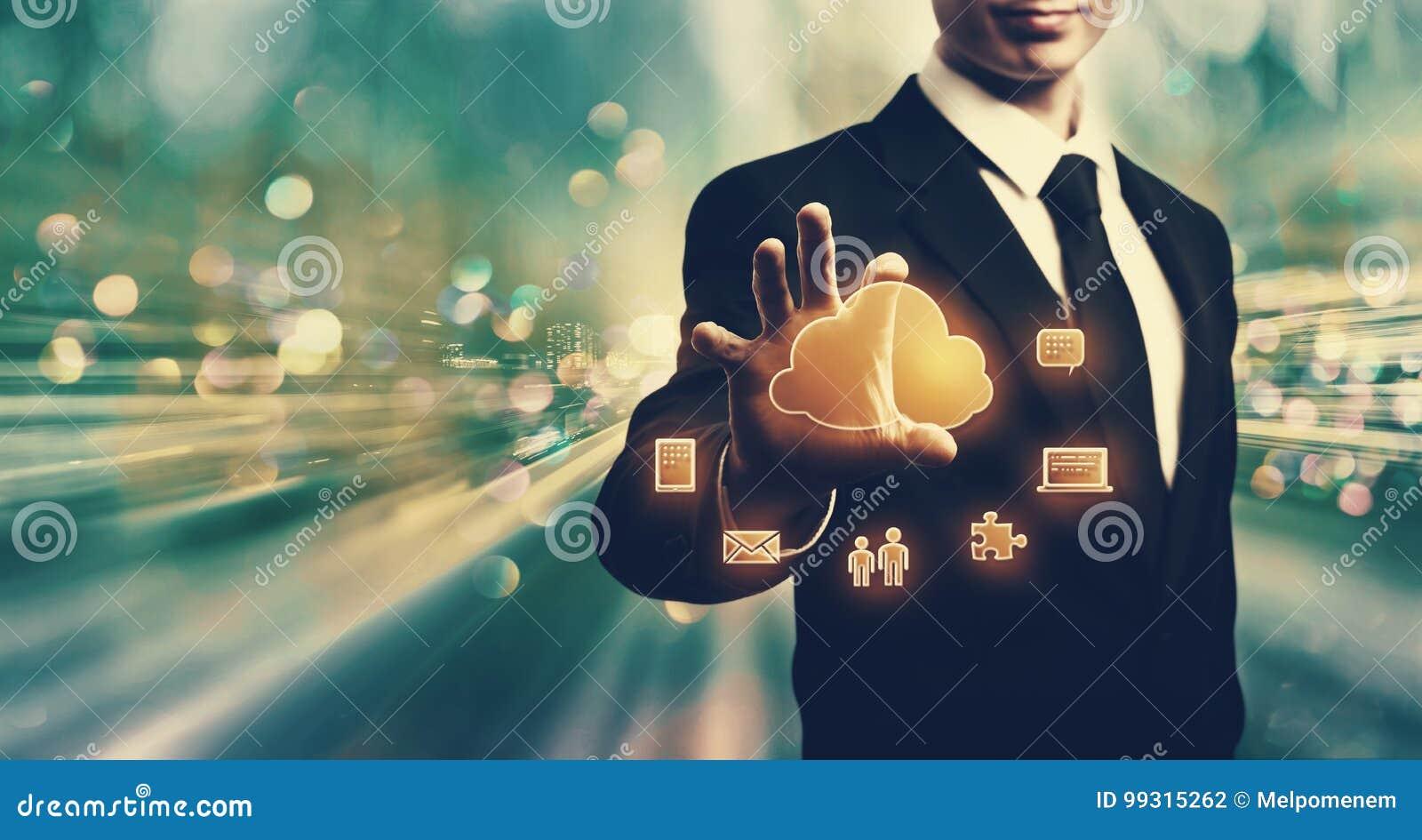 Cloud Computing with businessman