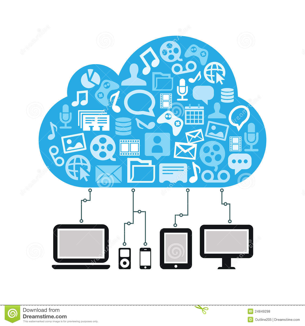 Cloud computing concept blue