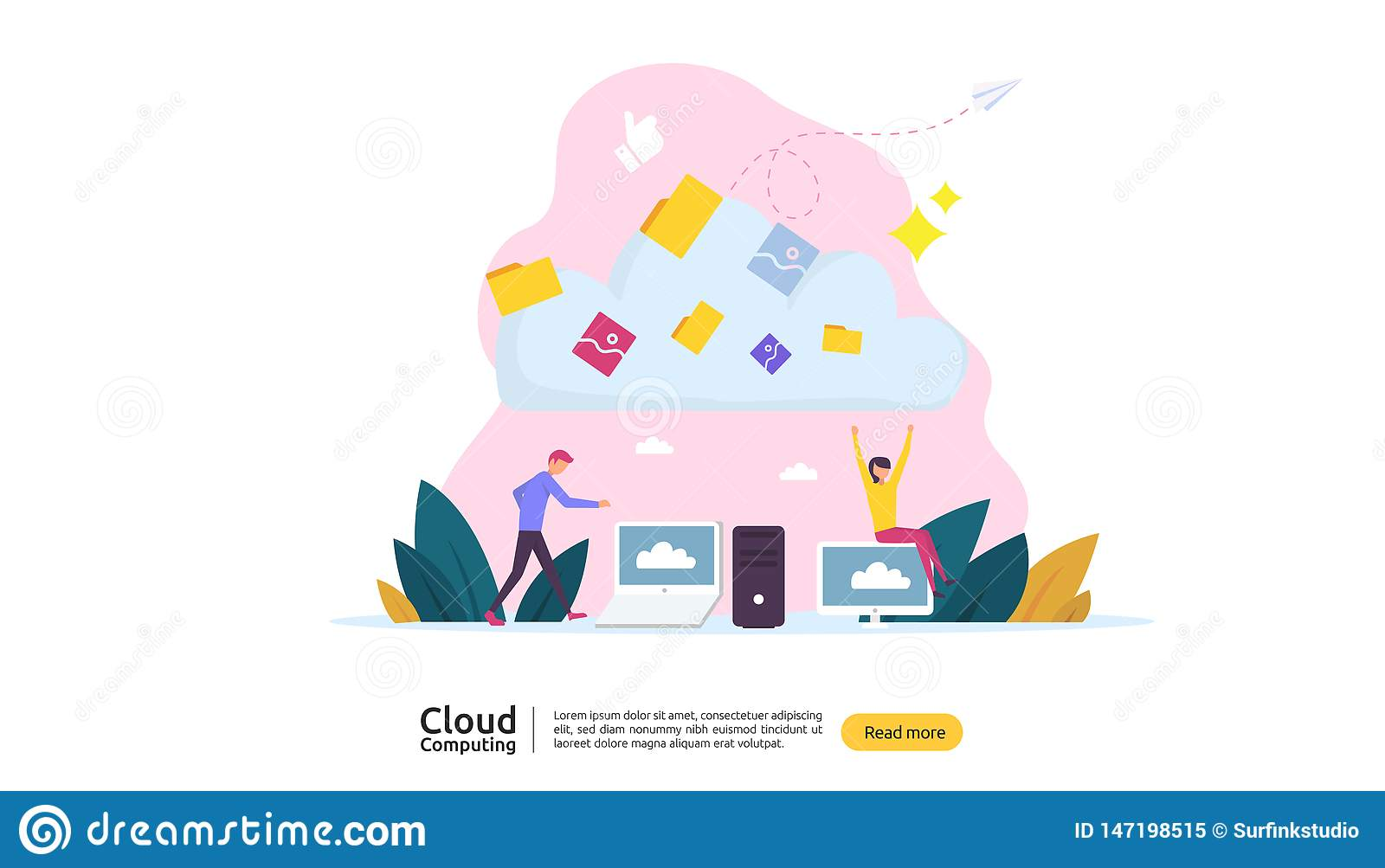 Cloud computing concept. Hosting network service or Online database storage system with people character for web landing page