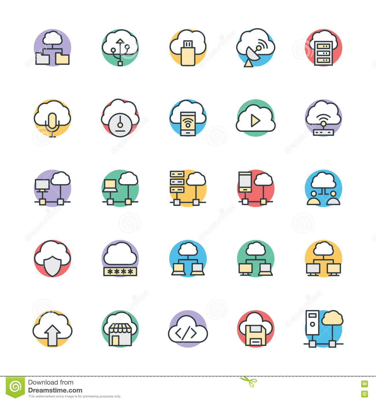 cloud computing cool vector icons 3 stock illustration