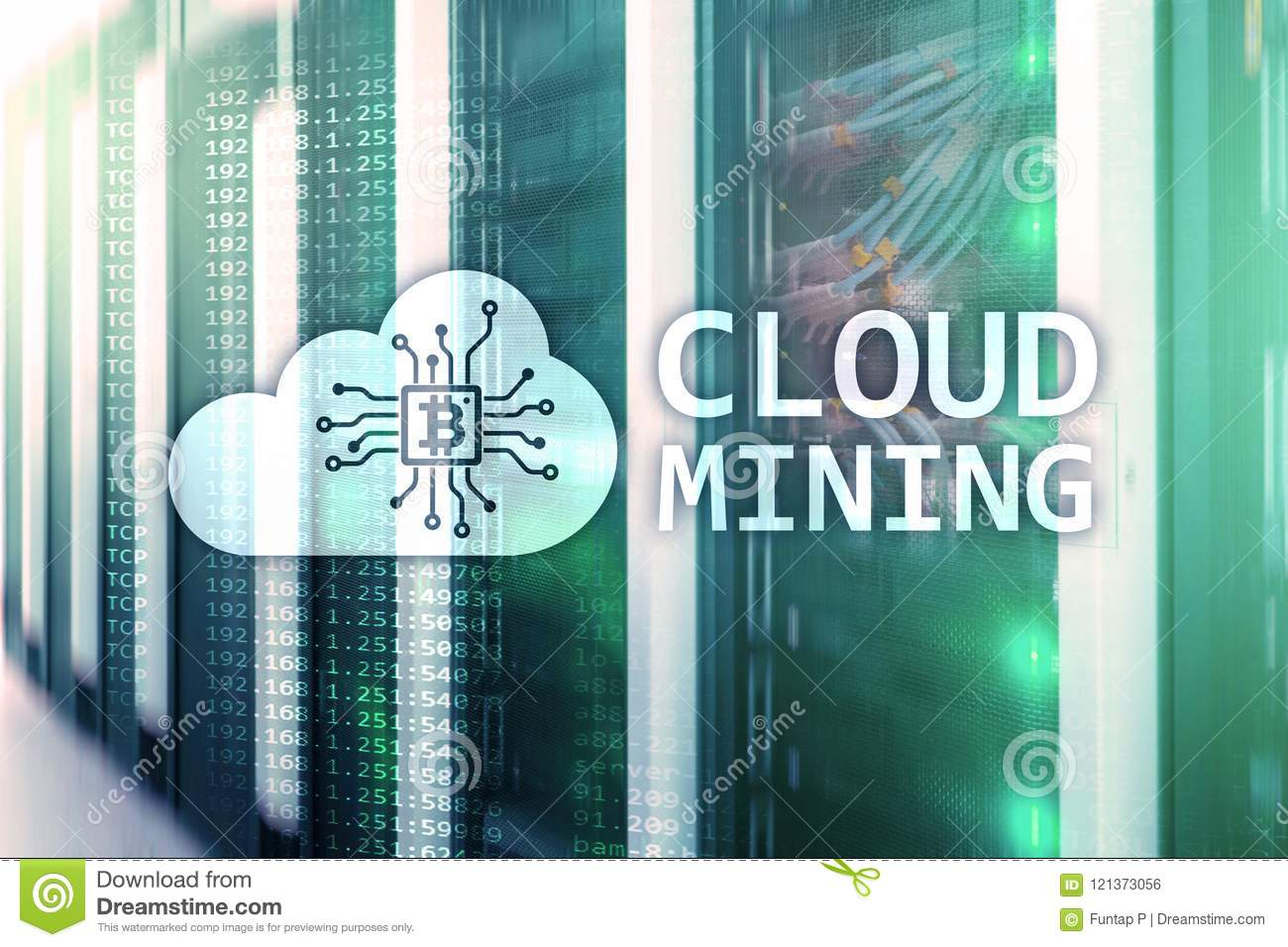 Cloud Computing, Data Or Cryptocurrency Bitcoin, Ethereum