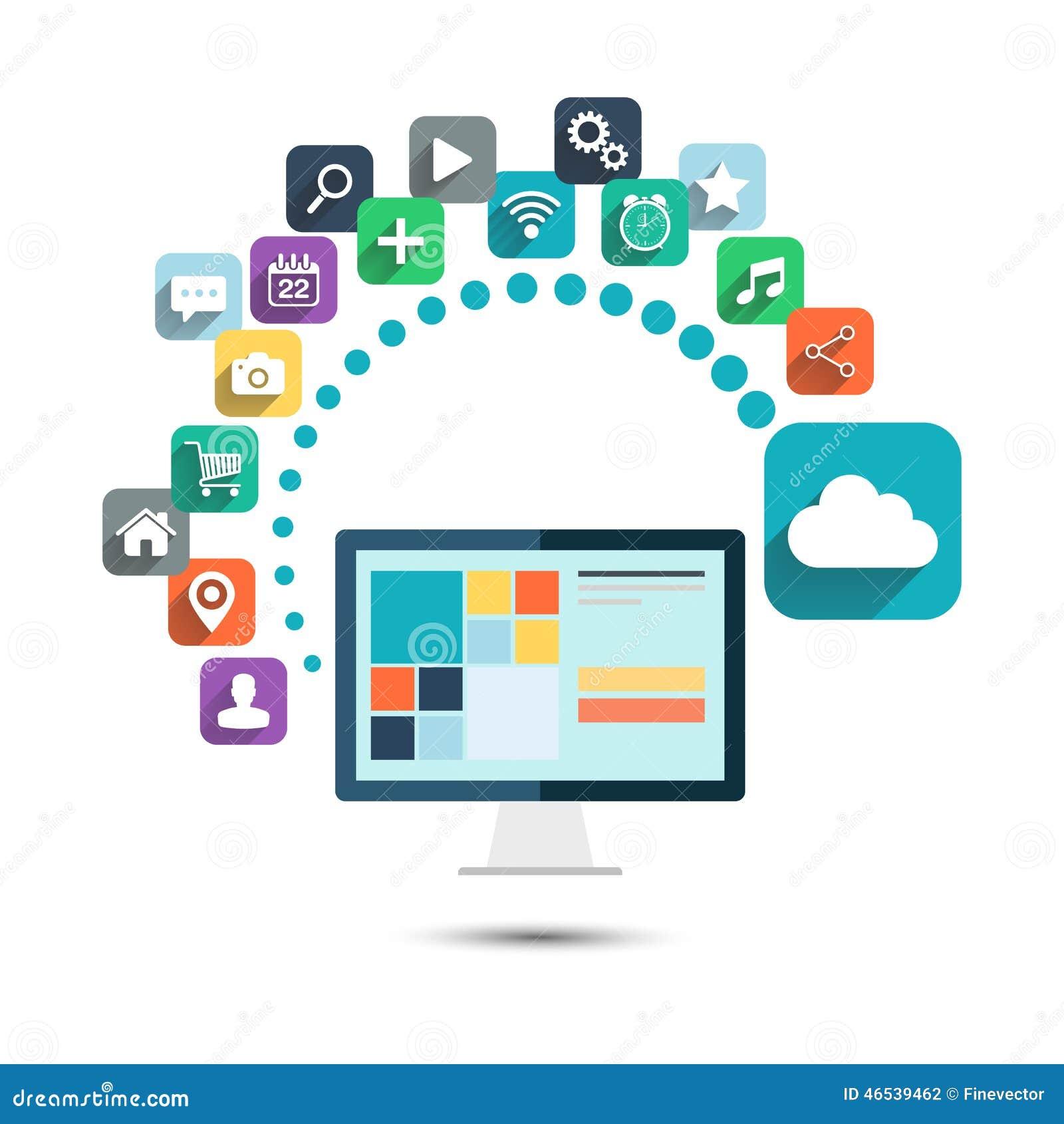 cloud computing desktop computer with web icons vector