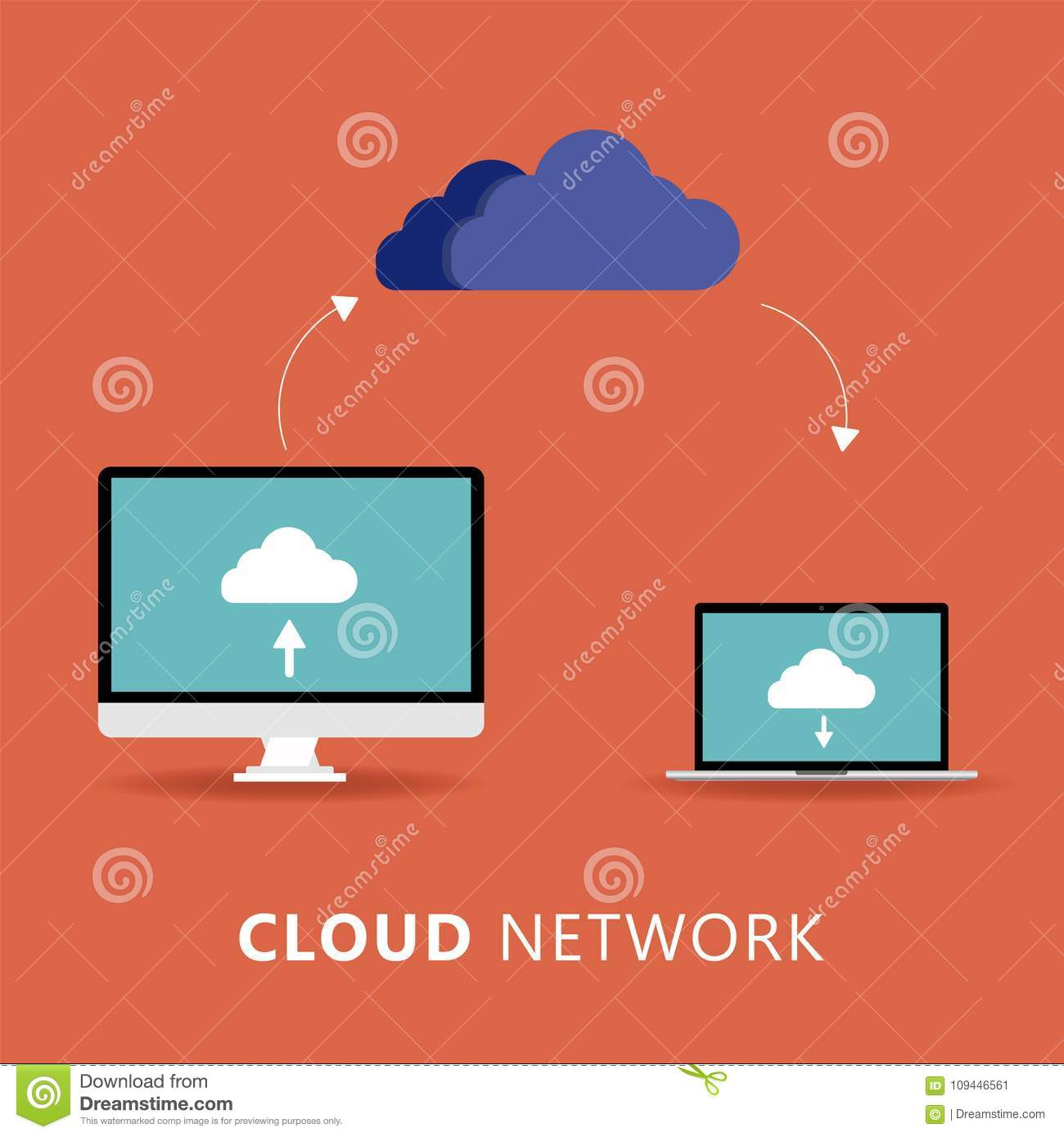 Cloud computing - Devices connected to the `cloud`. Vector illustration.