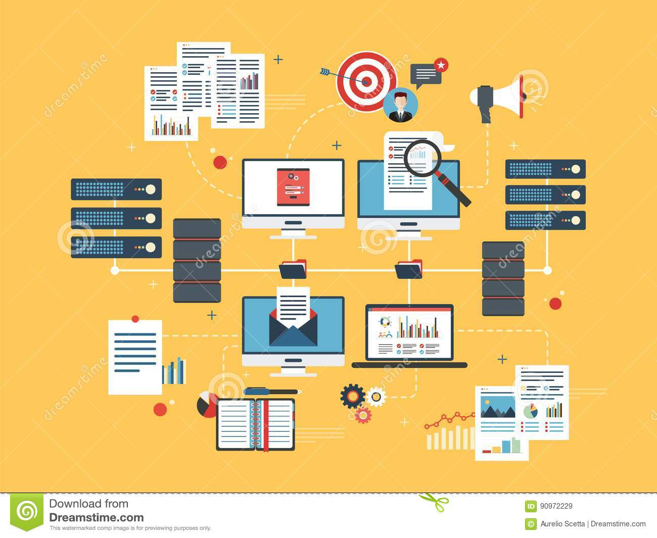 Cloud computing devices, data network and business intelligence.