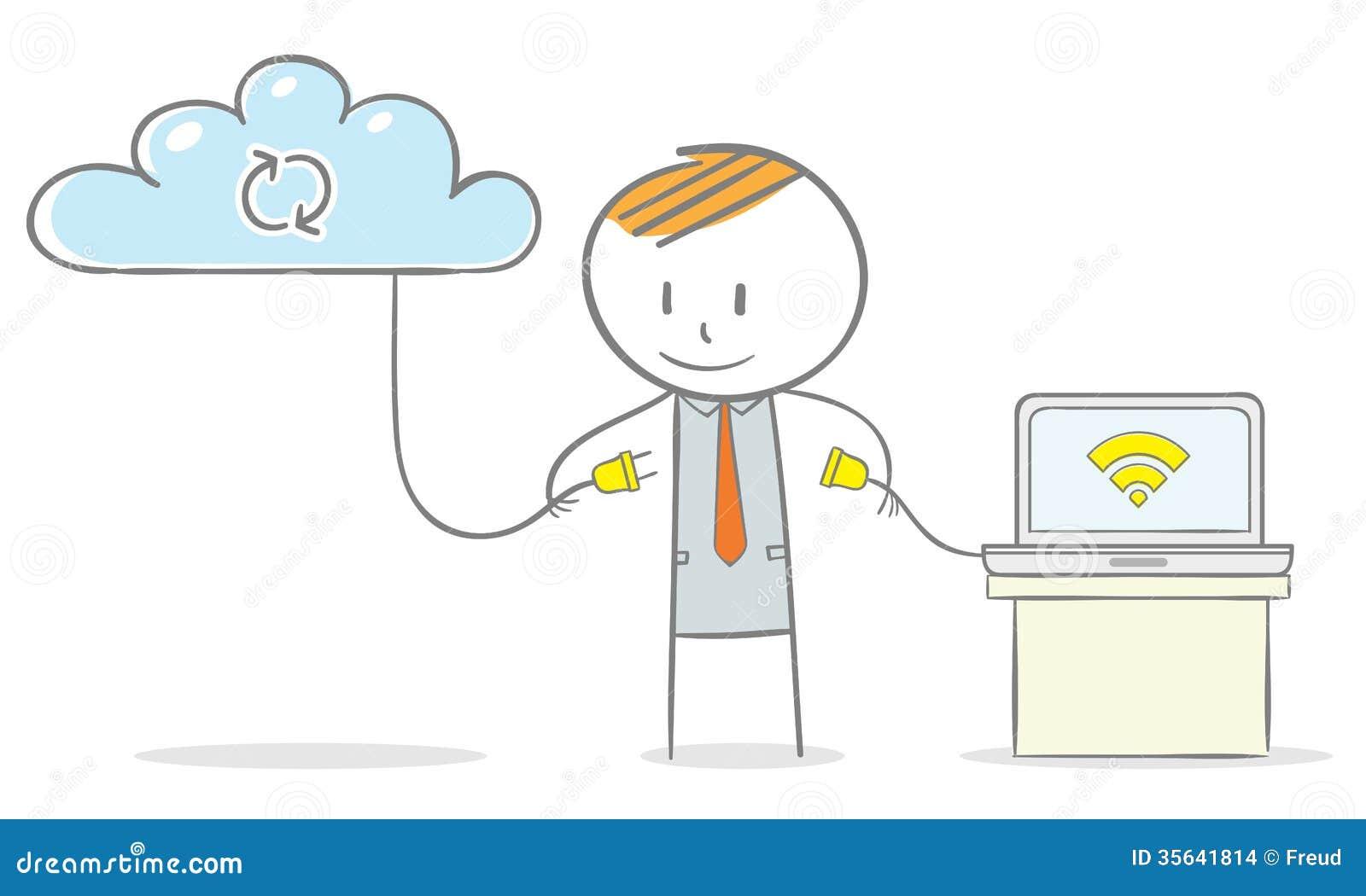 Doodle stick figure:Businessman connected his laptop computer to a ...