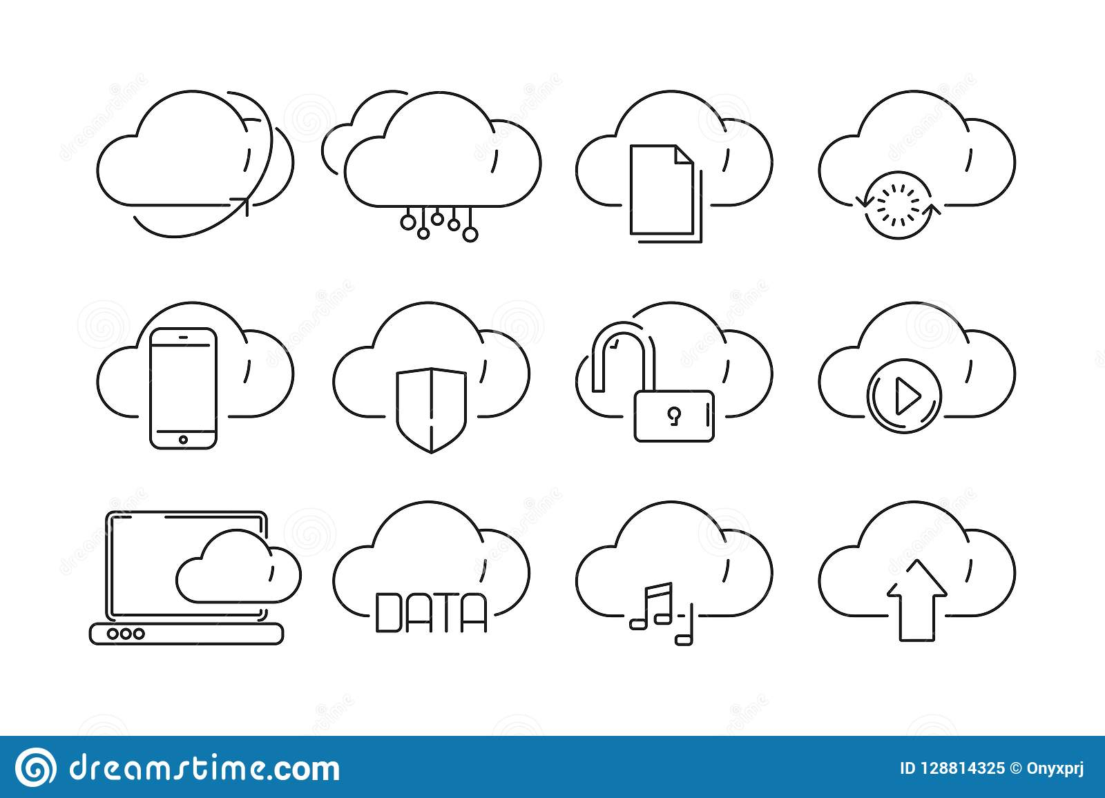 Cloud Computing Icons. Secure Web Online Storage With ...