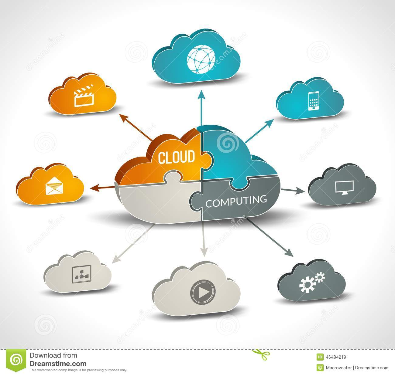 Networking Cloud Computing: Cloud Computing Infographics Stock Vector