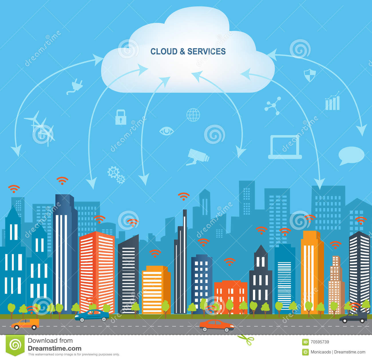 Cloud Computing & The Internet Of Things Stock Vector - Image ...