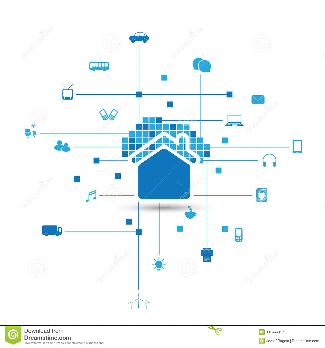 Cloud Computing, IoT, Home Automation Design Concept With Icons ...