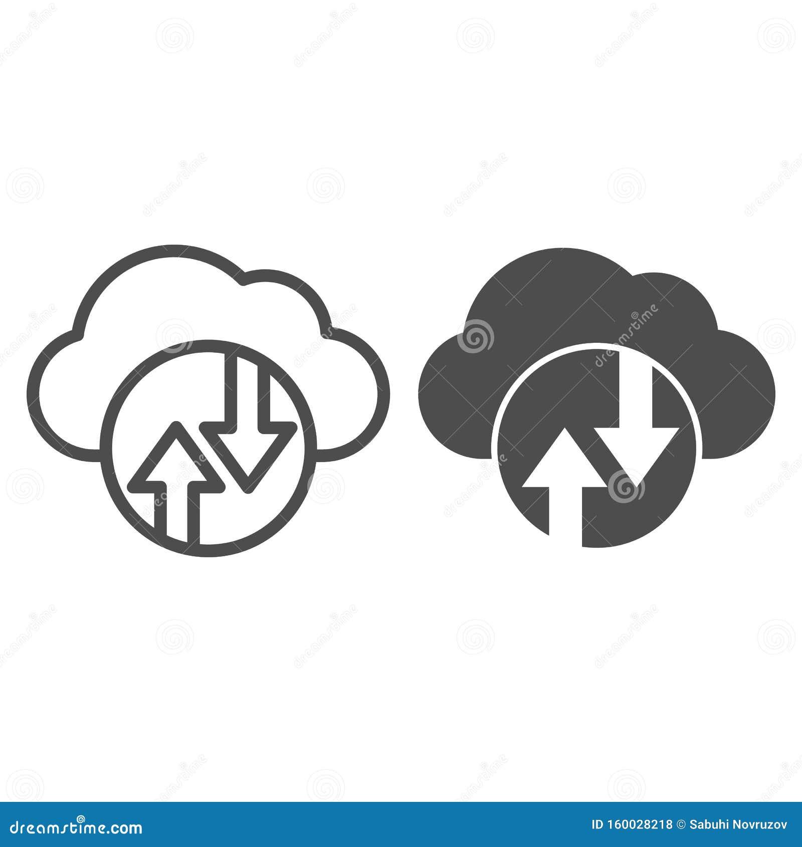 Cloud computing line en glyph-pictogram Cloud hosting vectorillustratie geïsoleerd op wit Omtrek van gegevenscloud-stijl