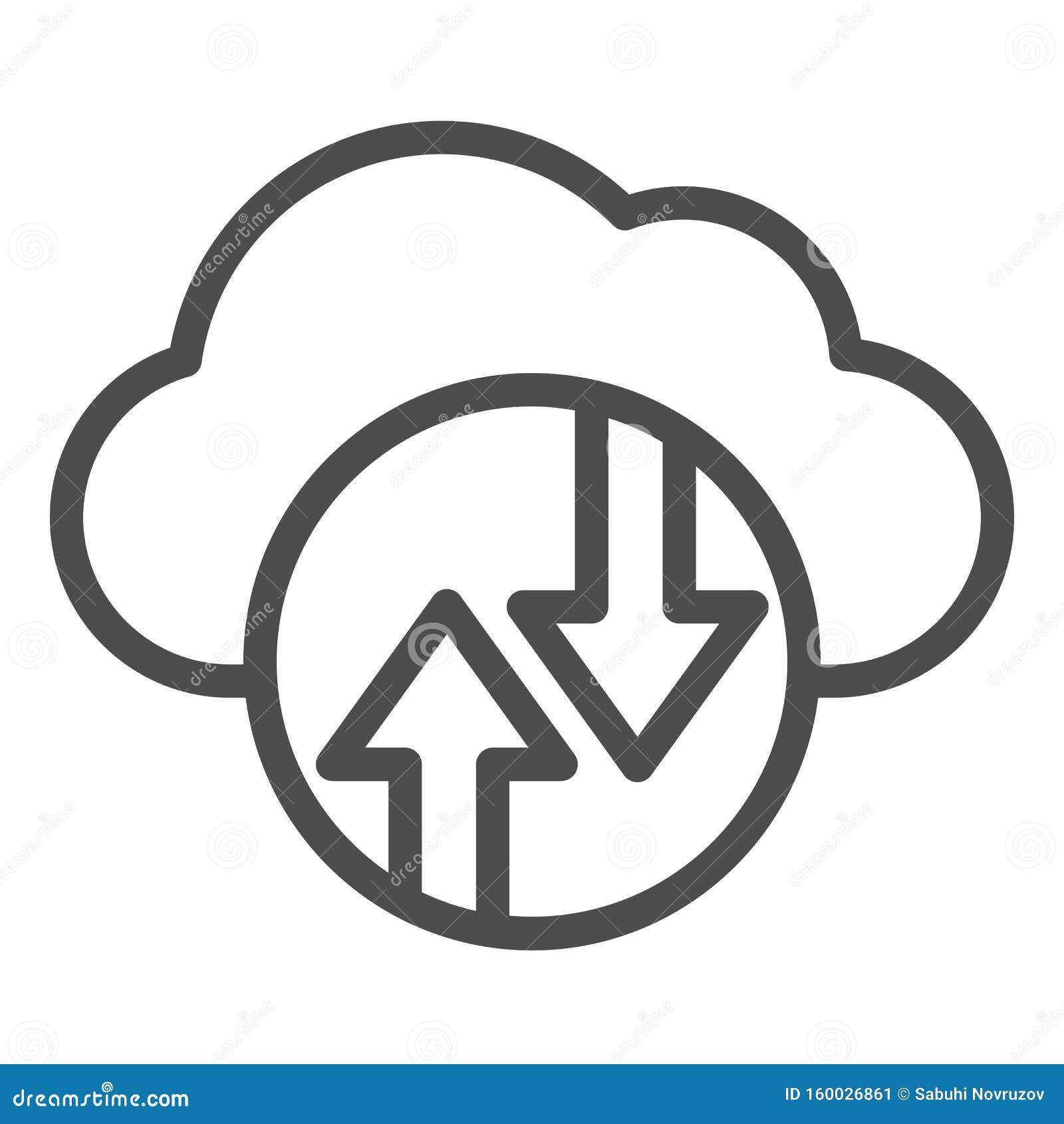 Cloud Computing line-pictogram Cloud hosting vectorillustratie geïsoleerd op wit Ontwerp van de ontwerpstijl van de gegevenscloud