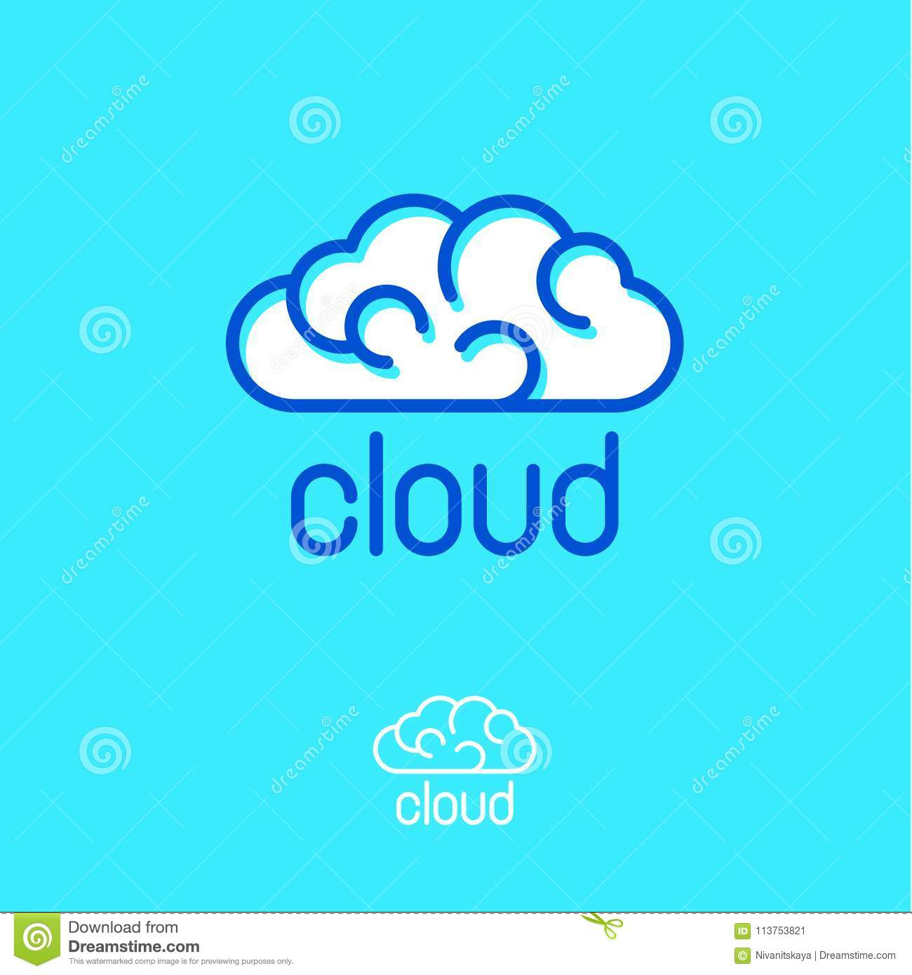 cloud computing logo blue cloud emblems linear logo communication or network icon stock vector illustration of finance server 113753821 dreamstime com