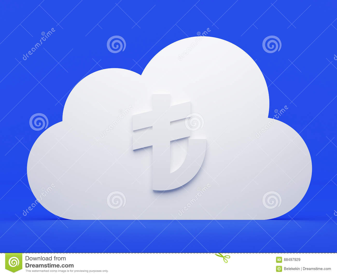 Cloud Computing Online Payment With Turkish Lira Stock Illustration