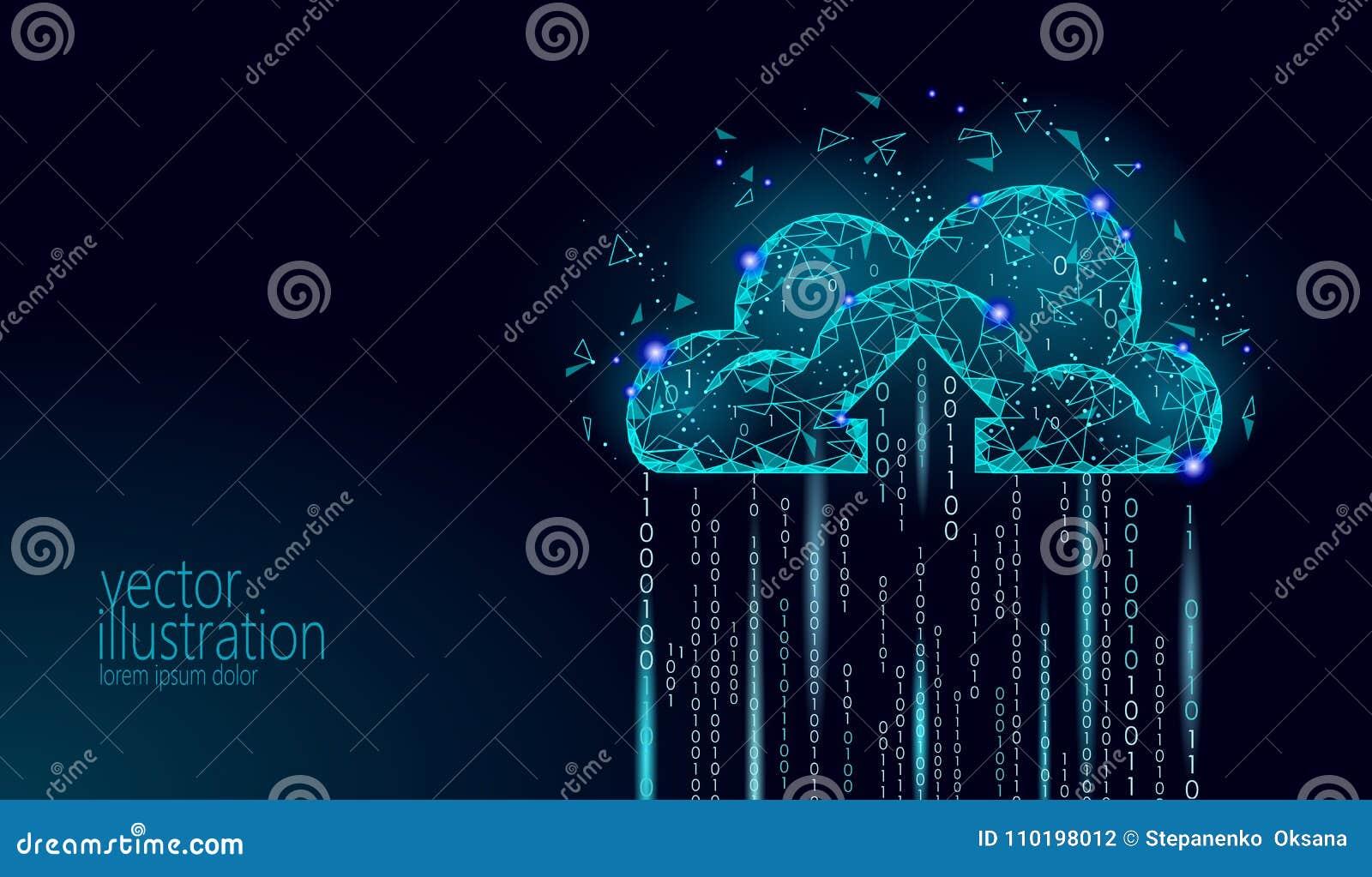 Cloud computing online storage low poly. Polygonal future modern internet business technology. Blue glowing global data