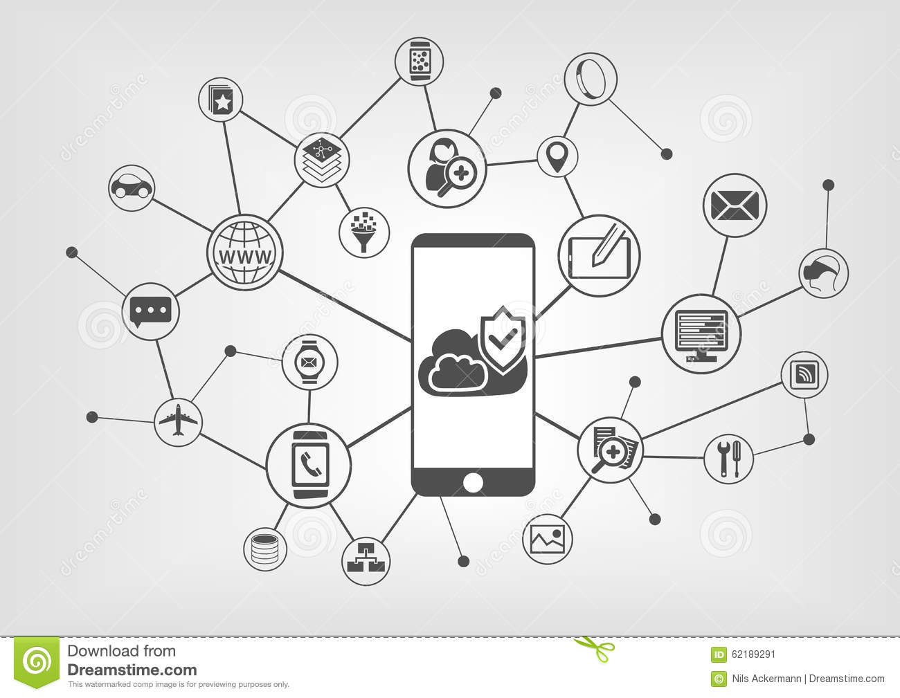Cloud computing security concept for smart phones. Vector illustration background