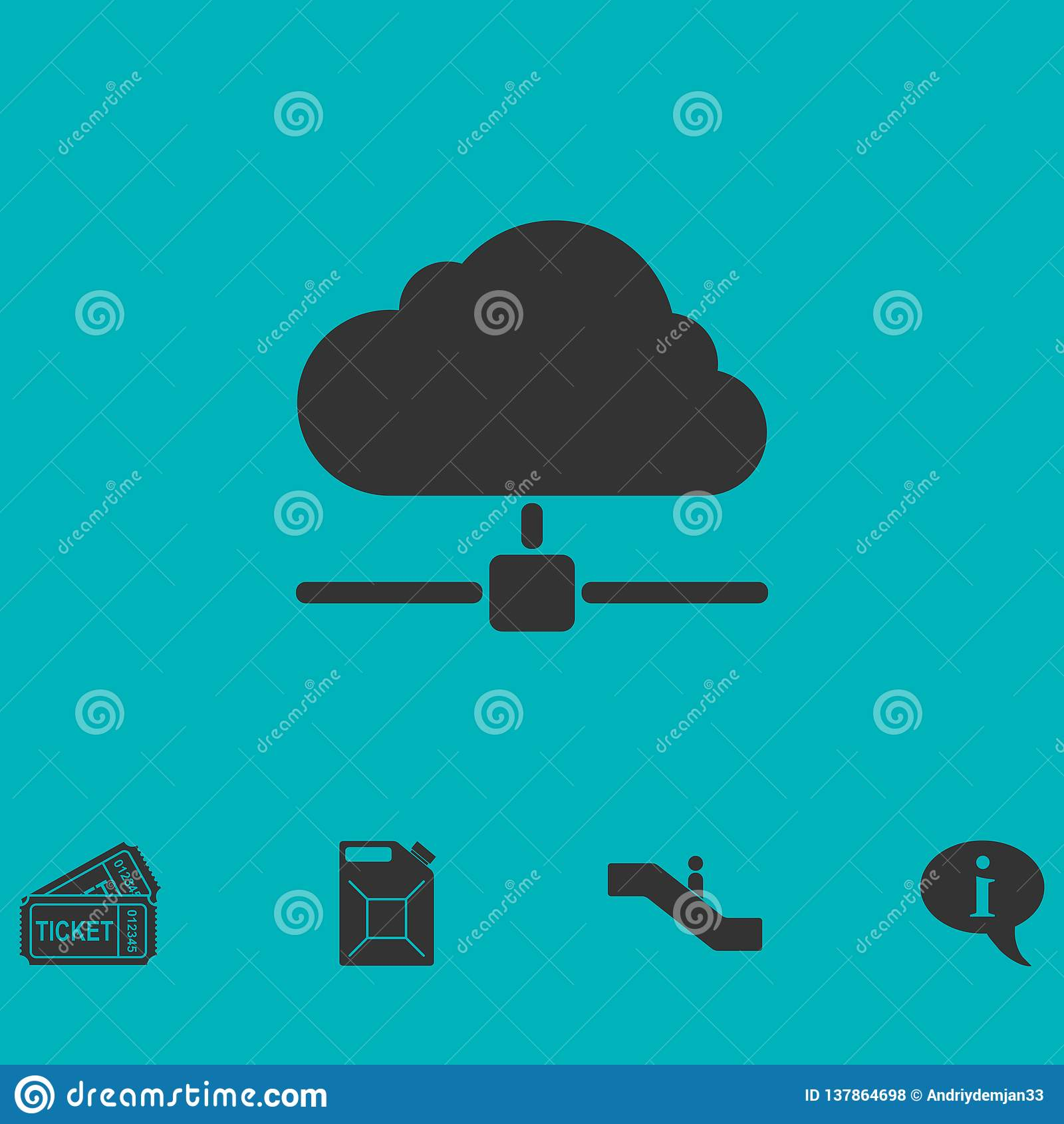 Cloud computing,server icon flat