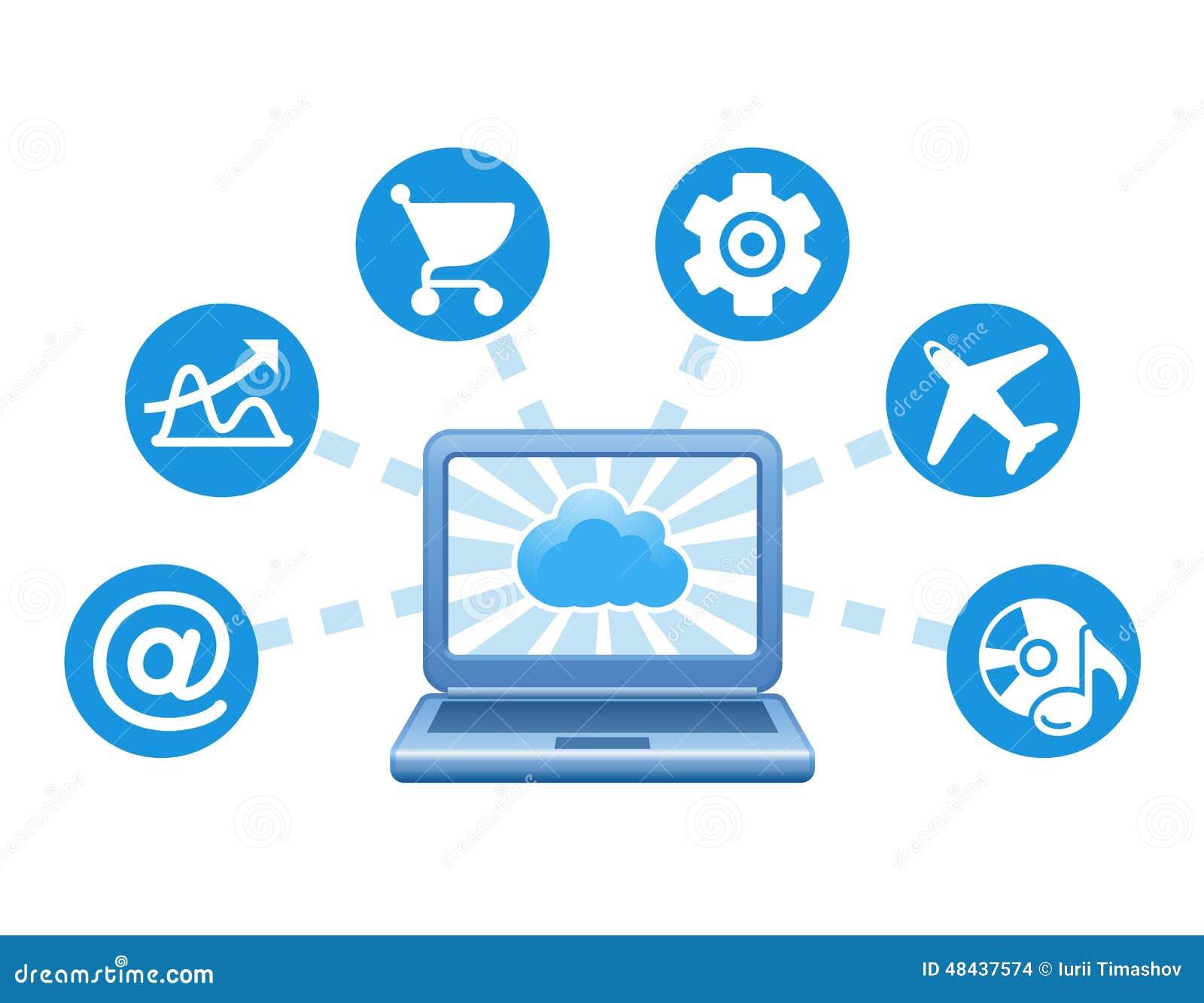 Vector E Sanitary Service : Cloud computing service illustration stock vector