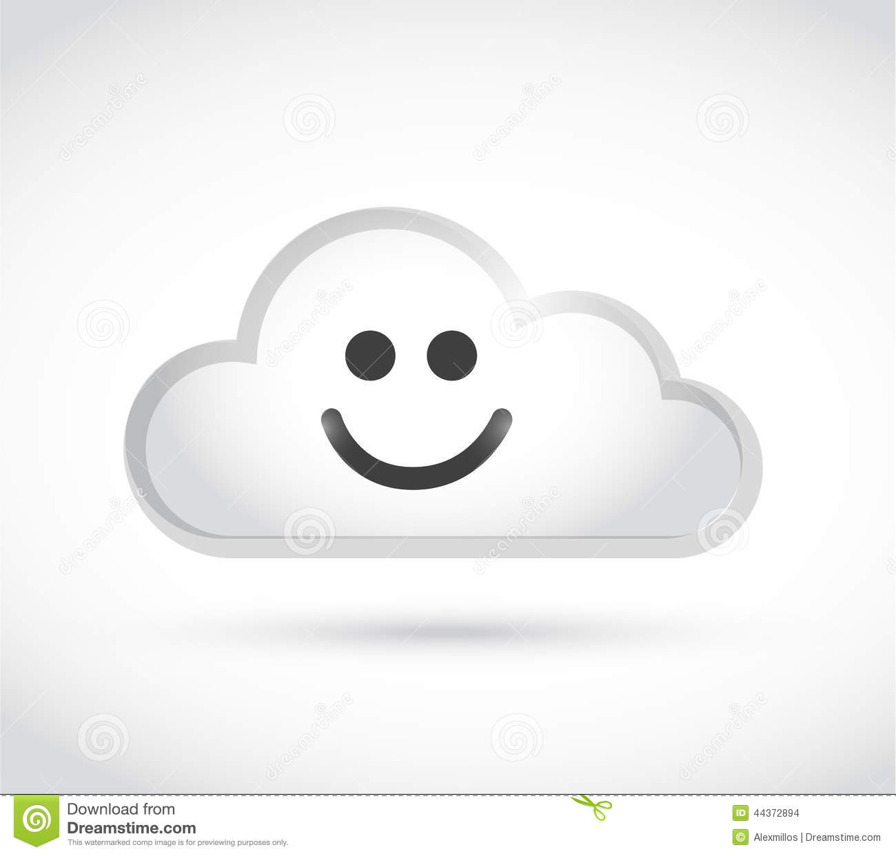 Cloud Computing Smiley Face Illustration Design Stock Illustration