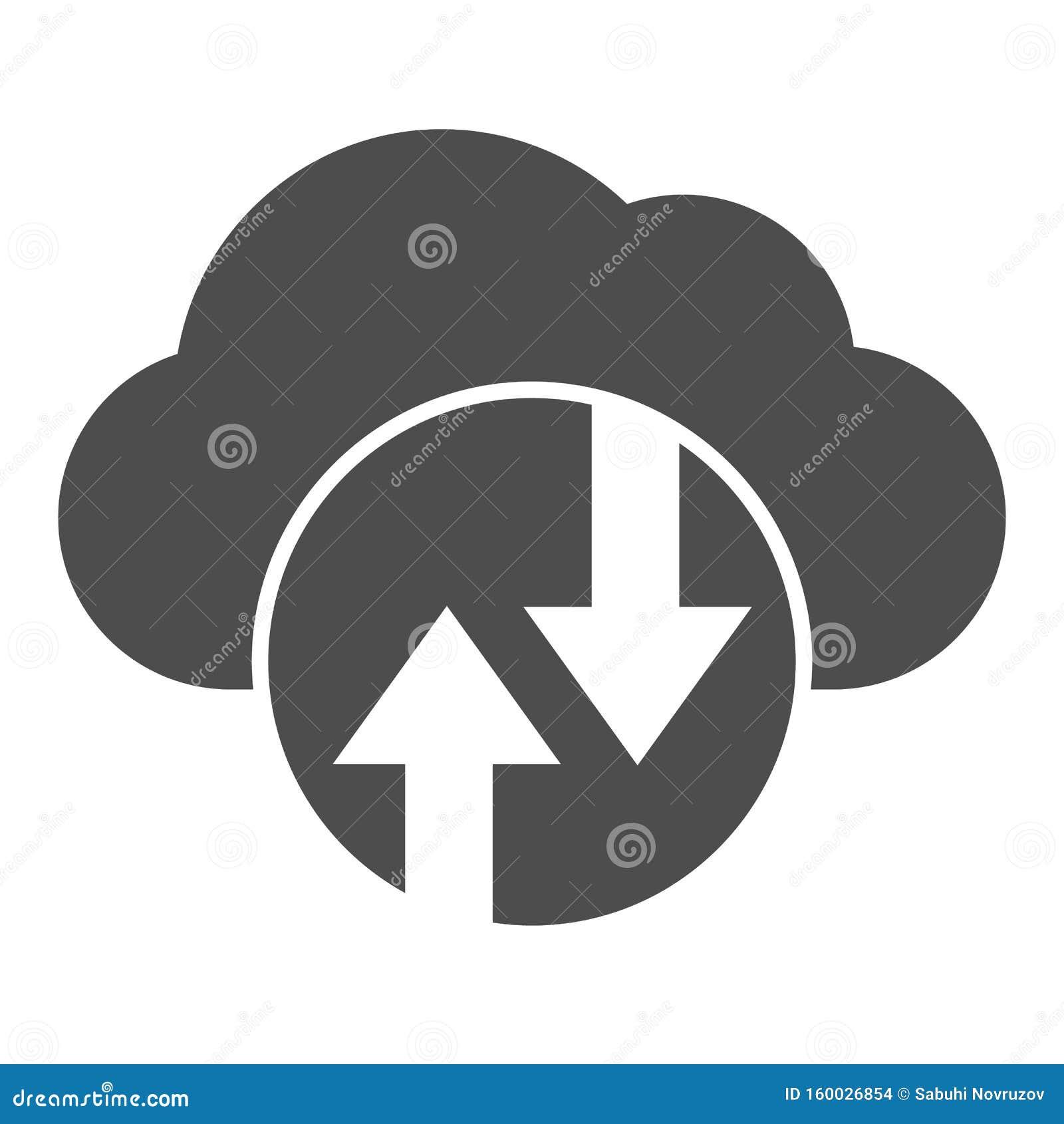Cloud computing solid icon Cloud hosting vectorillustratie geïsoleerd op wit Ontwerp met glyph-stijl voor gegevenscloud, ontworpe