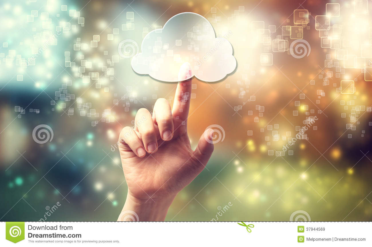 Cloud computing symbol being pressed by hand