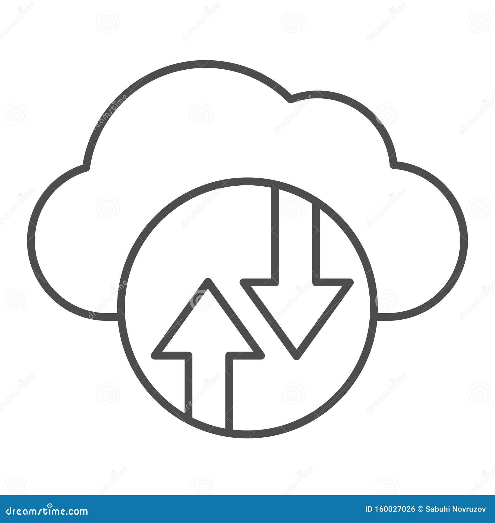 Cloud computing thin line pictogram Cloud hosting vectorillustratie geïsoleerd op wit Ontwerp van de ontwerpstijl van de gegevens