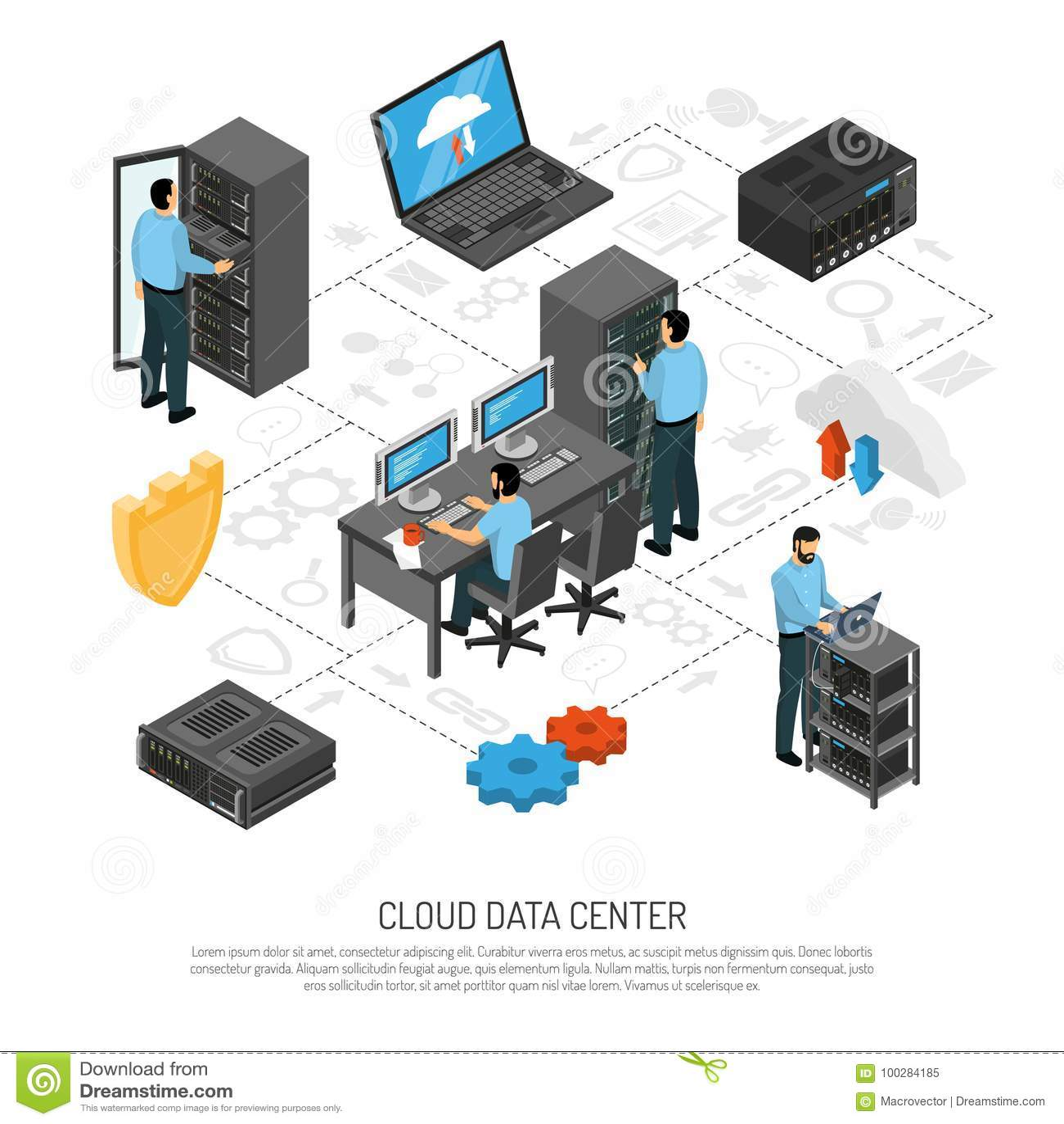 Cloud Data Center Isometric Flowchart