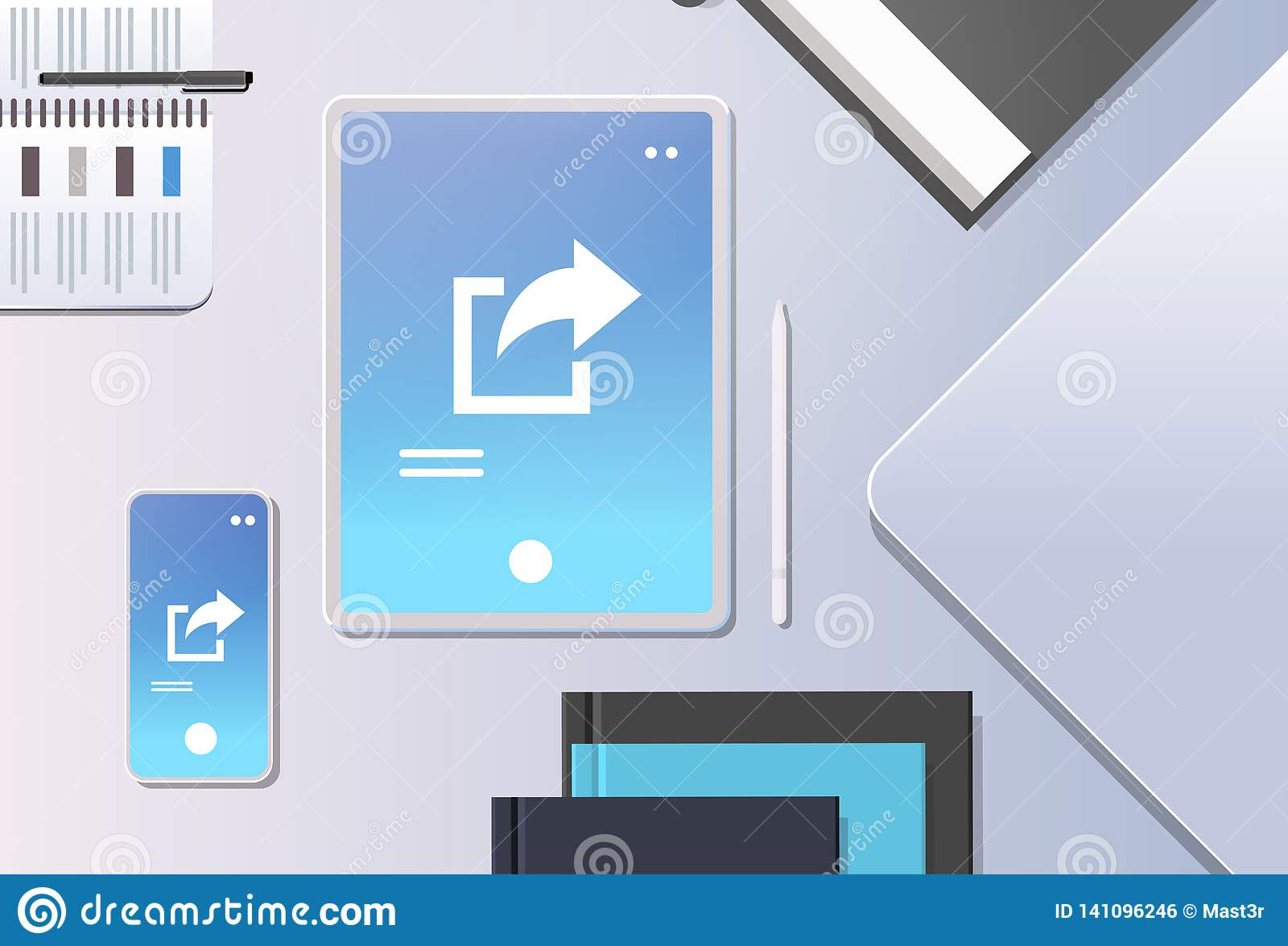 Cloud data share online internet sharing network top angle view workplace desktop with tablet pc and smartphone screen