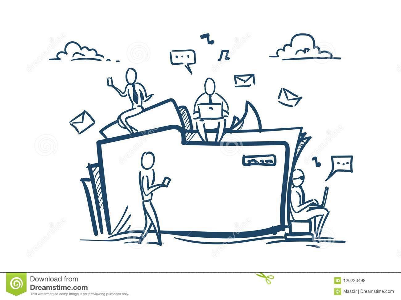 Cloud data storage folder file sharing service concept businesspeople working together over white background sketch